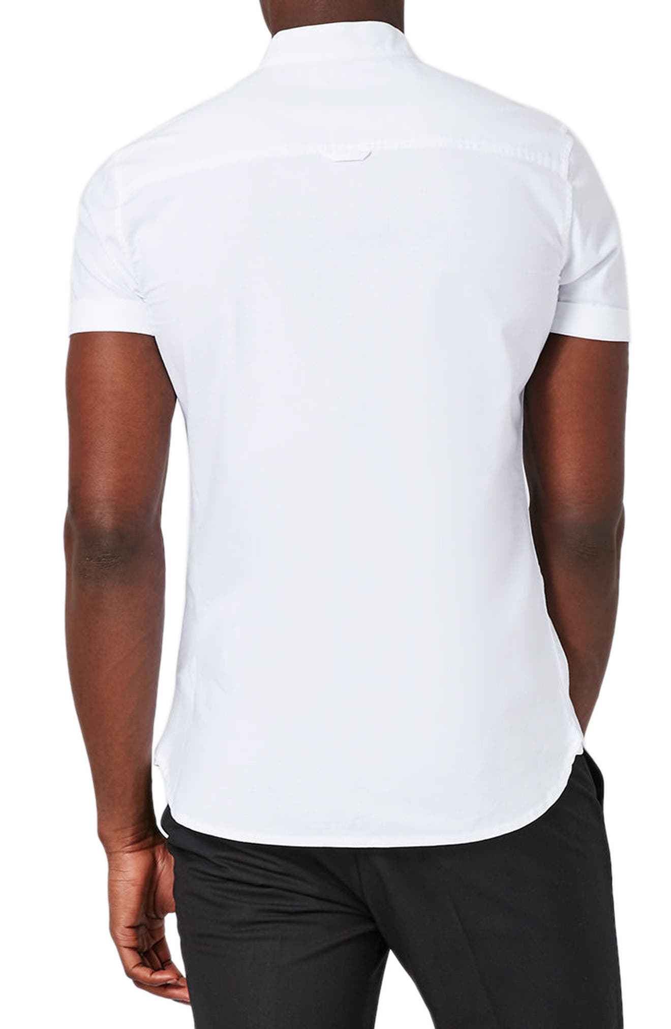 Stand Collar Oxford Shirt,                             Alternate thumbnail 2, color,                             WHITE