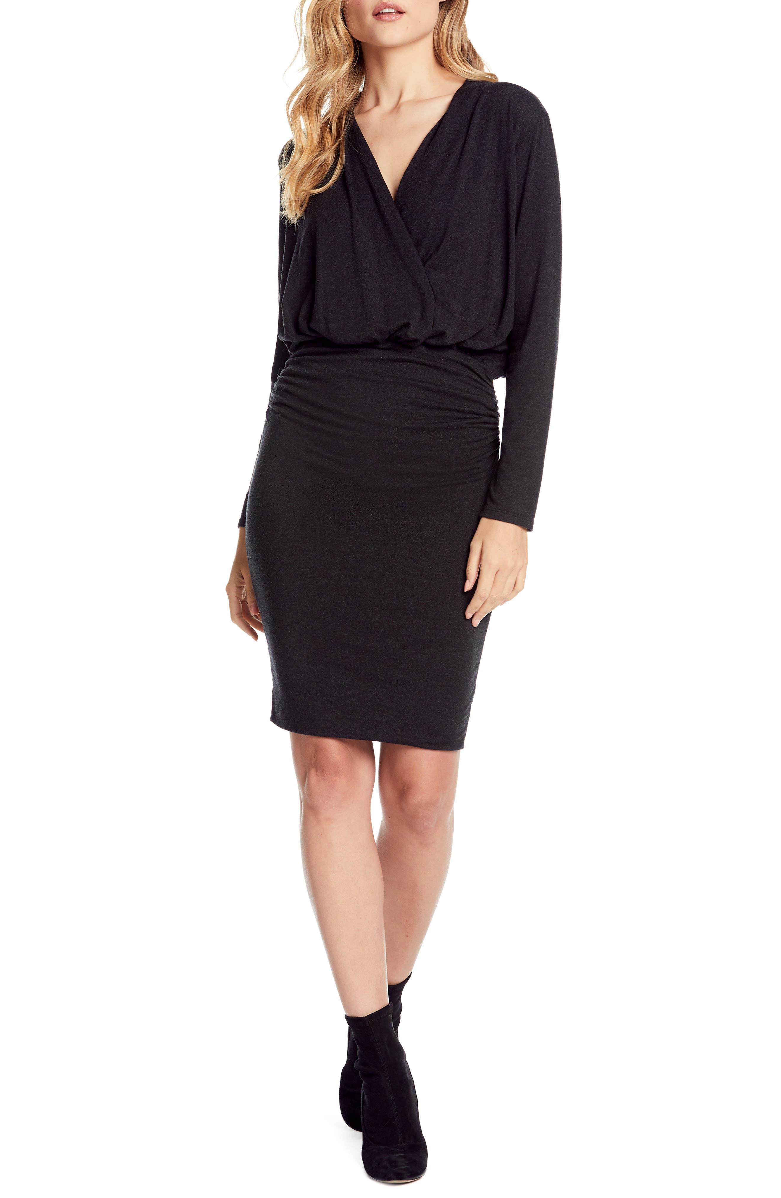 Michael Stars Jules Cross Front Stretch Jersey Dress, Black