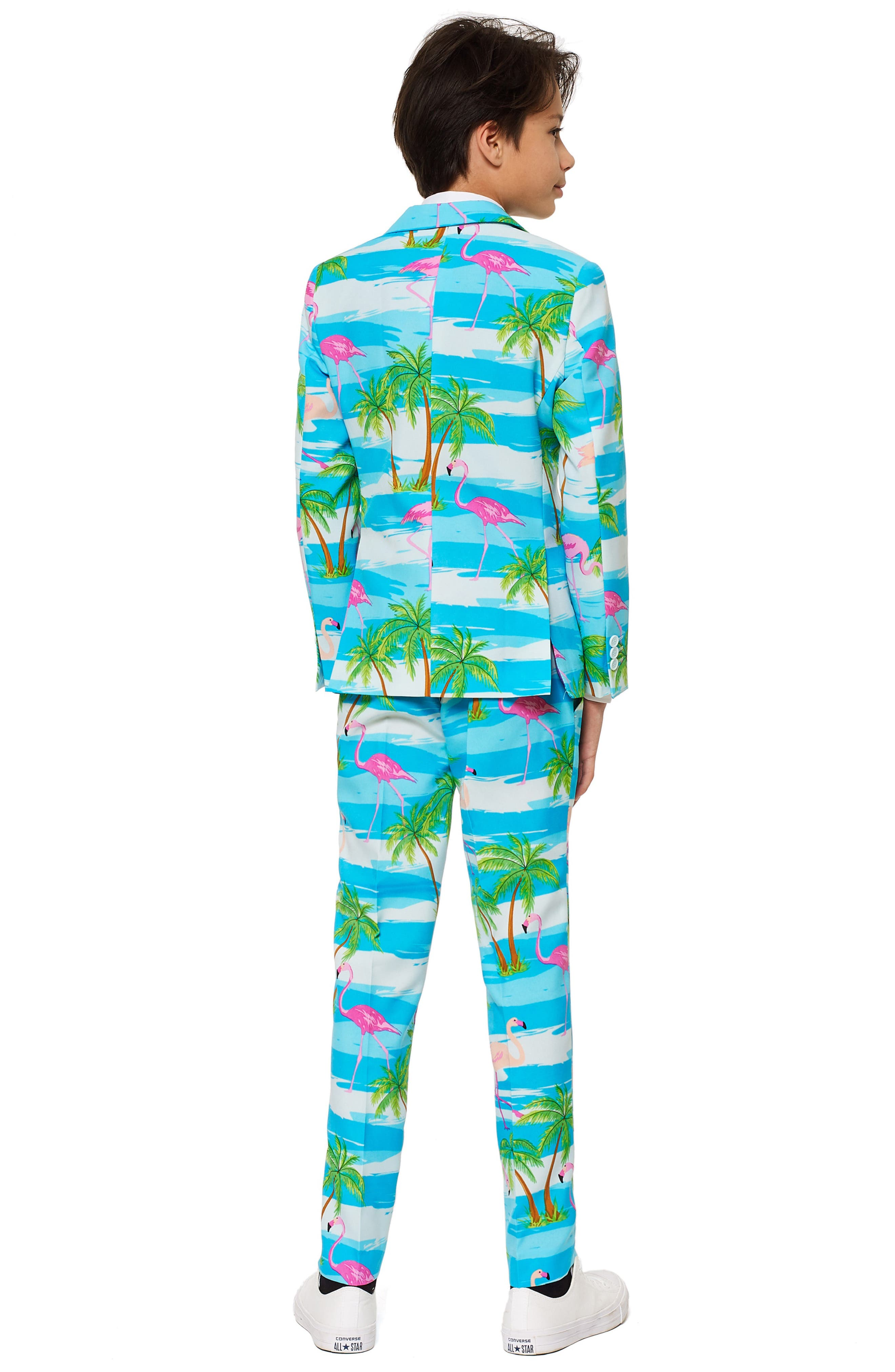 Flaminguy Two-Piece Suit with Tie,                             Alternate thumbnail 2, color,                             BLUE/ GREEN