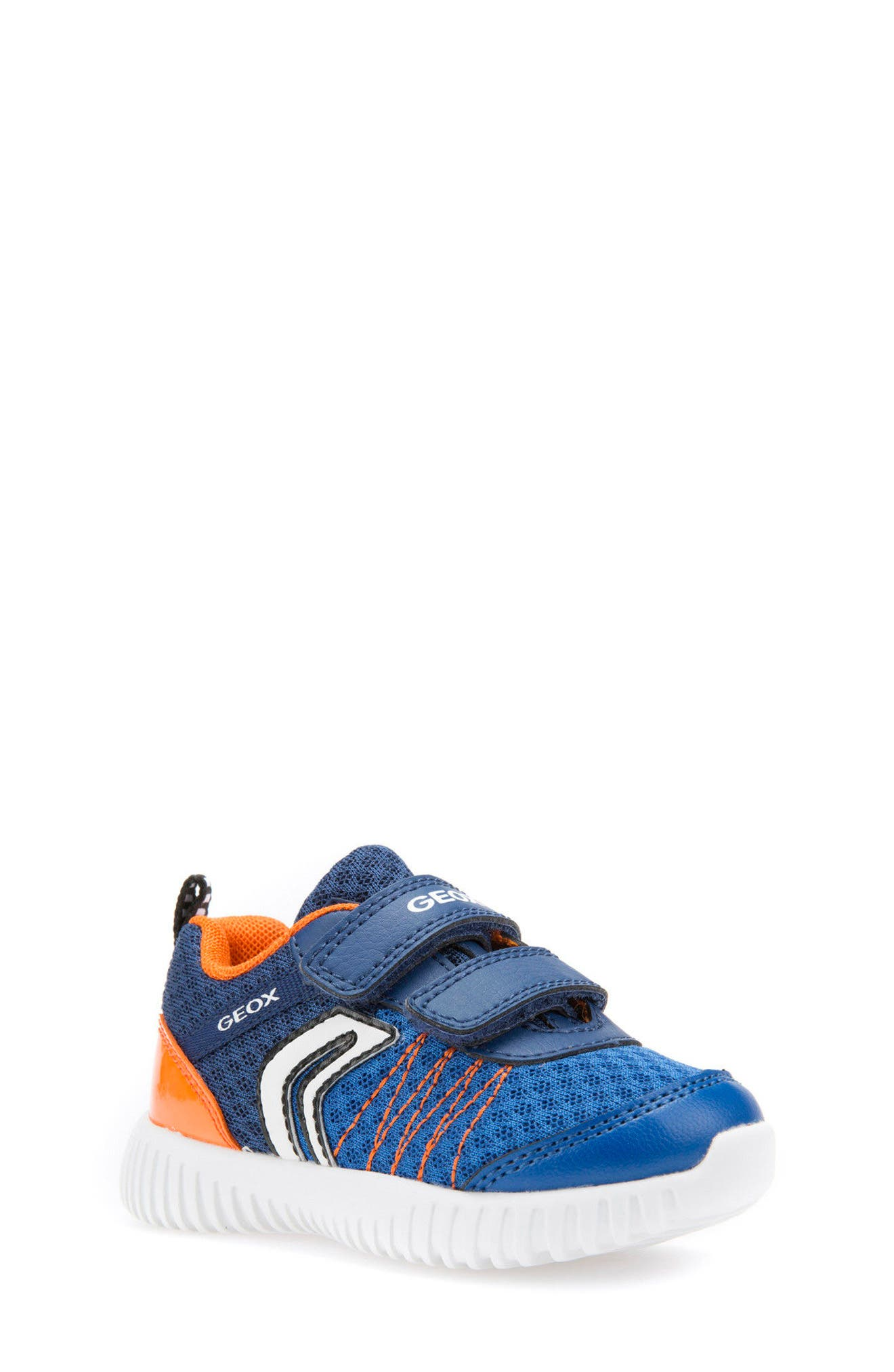 Waviness Waterproof Sneaker,                             Main thumbnail 1, color,                             NAVY/ ORANGE