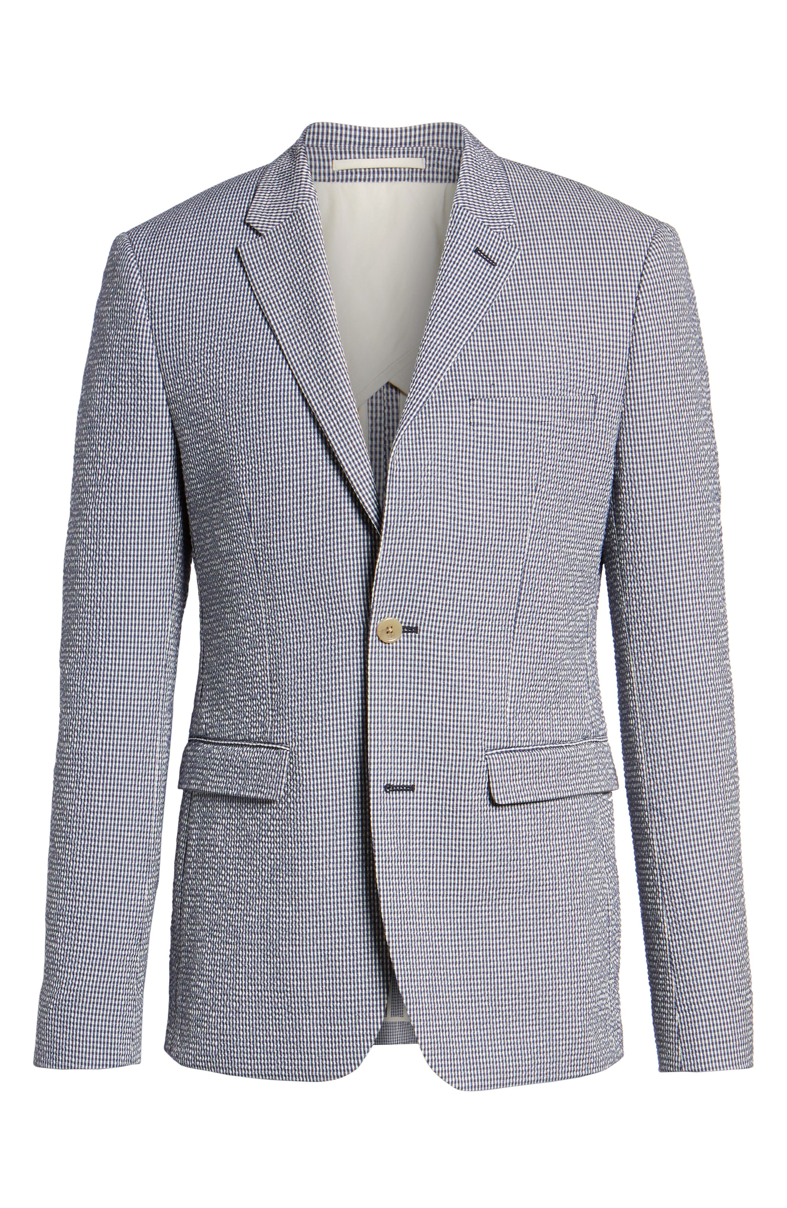 Slim Fit Stretch Seersucker Sport Coat,                             Alternate thumbnail 4, color,                             MARINE BLUE