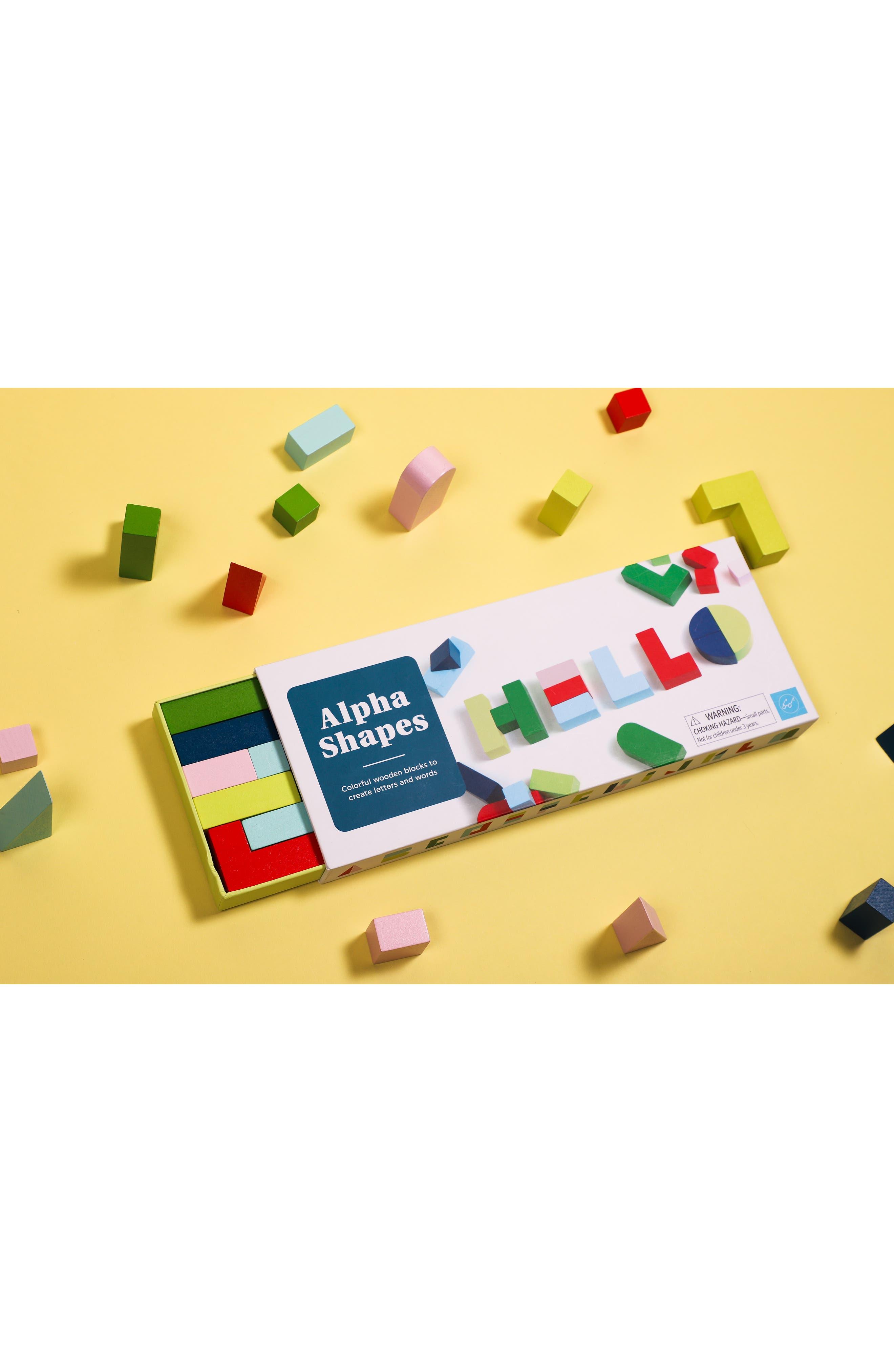 Alpha Shapes Wooden Blocks,                             Alternate thumbnail 2, color,                             NONE