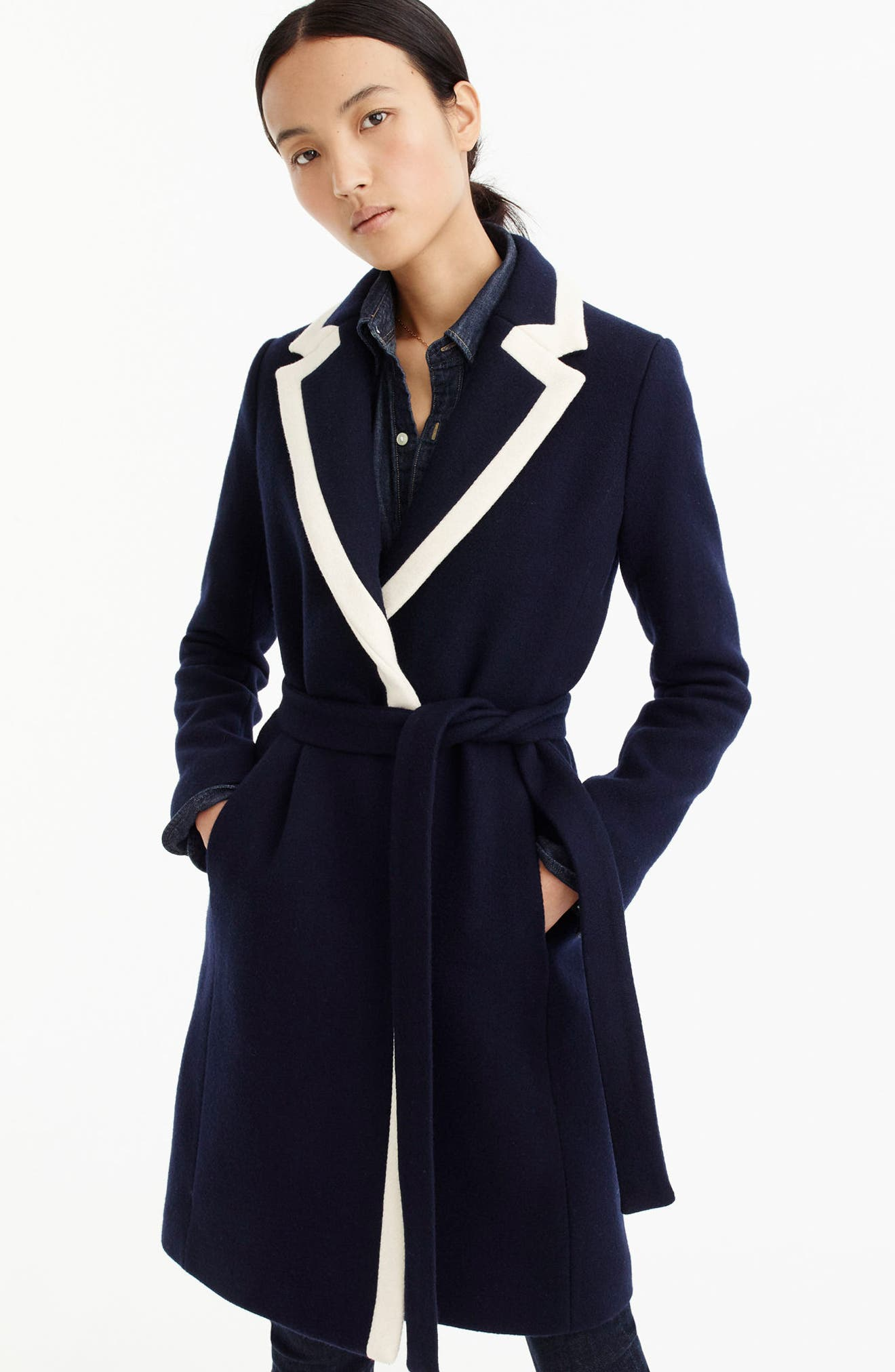 J.CREW,                             Tipped Wrapped Stadium Cloth Coat,                             Alternate thumbnail 3, color,                             400