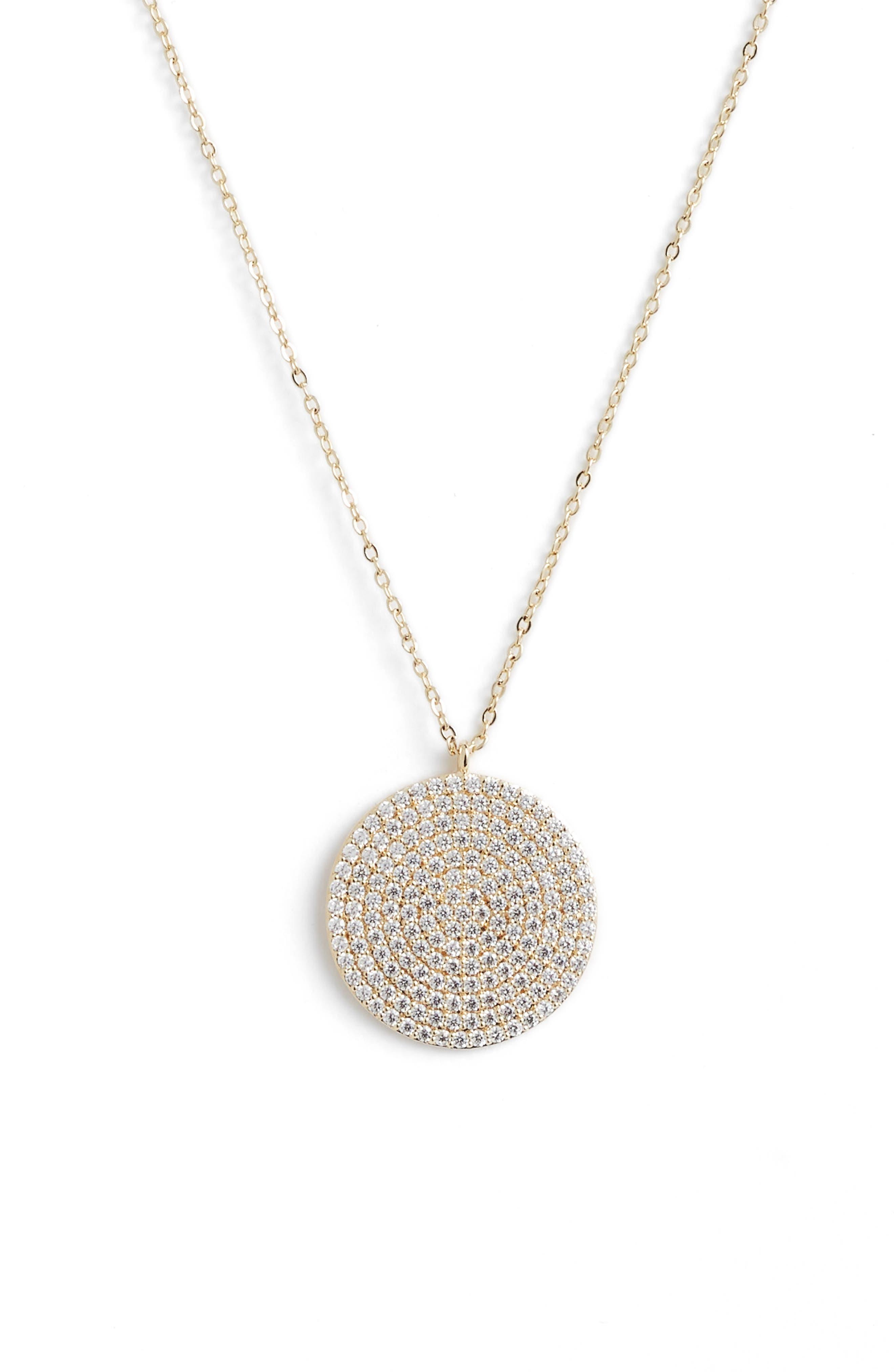 Pavé Spheres Medium Disc Pendant Necklace, Main, color, CLEAR/ GOLD