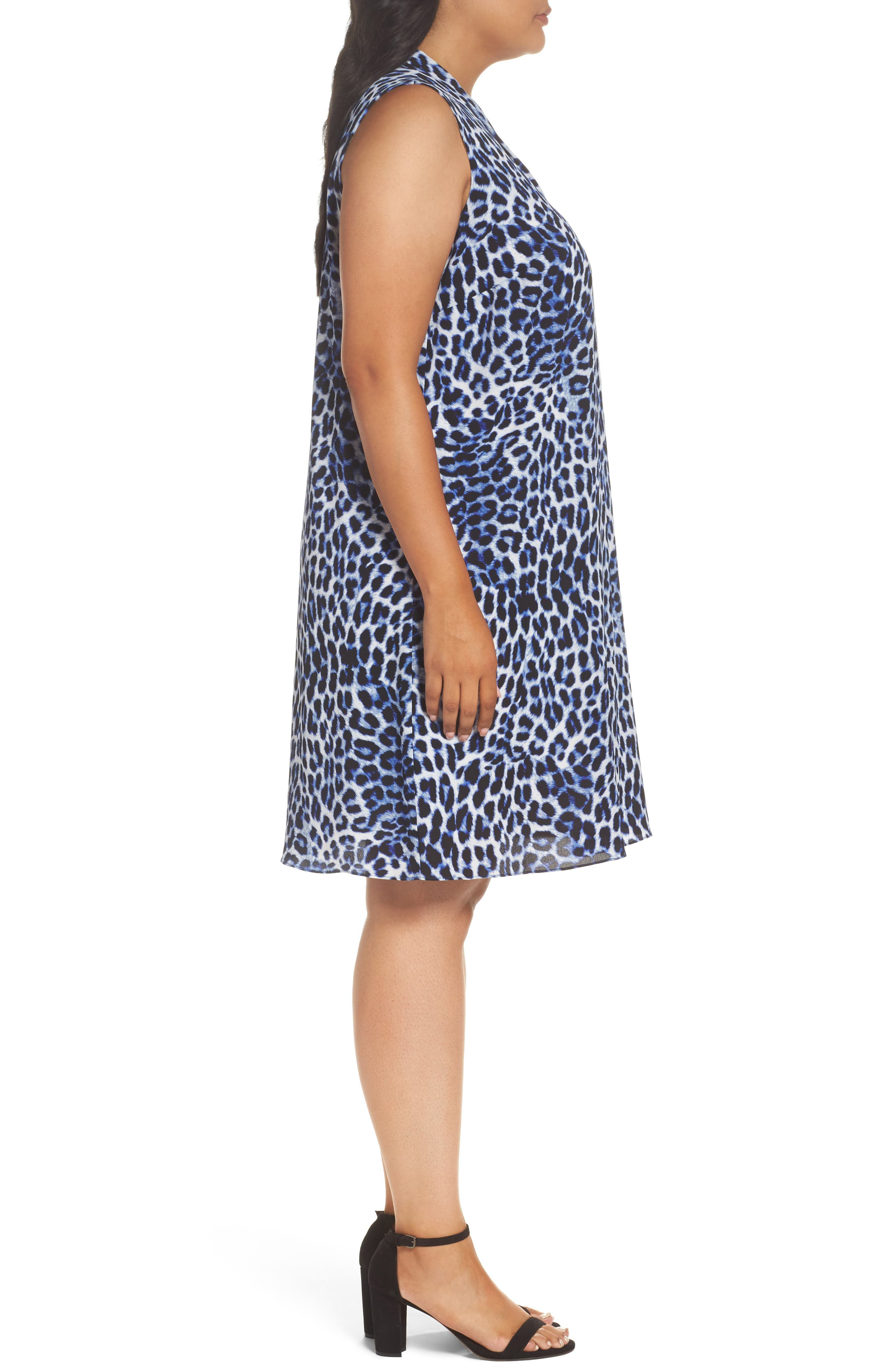 Leopard Song Inverted Pleat Shift Dress,                             Alternate thumbnail 3, color,