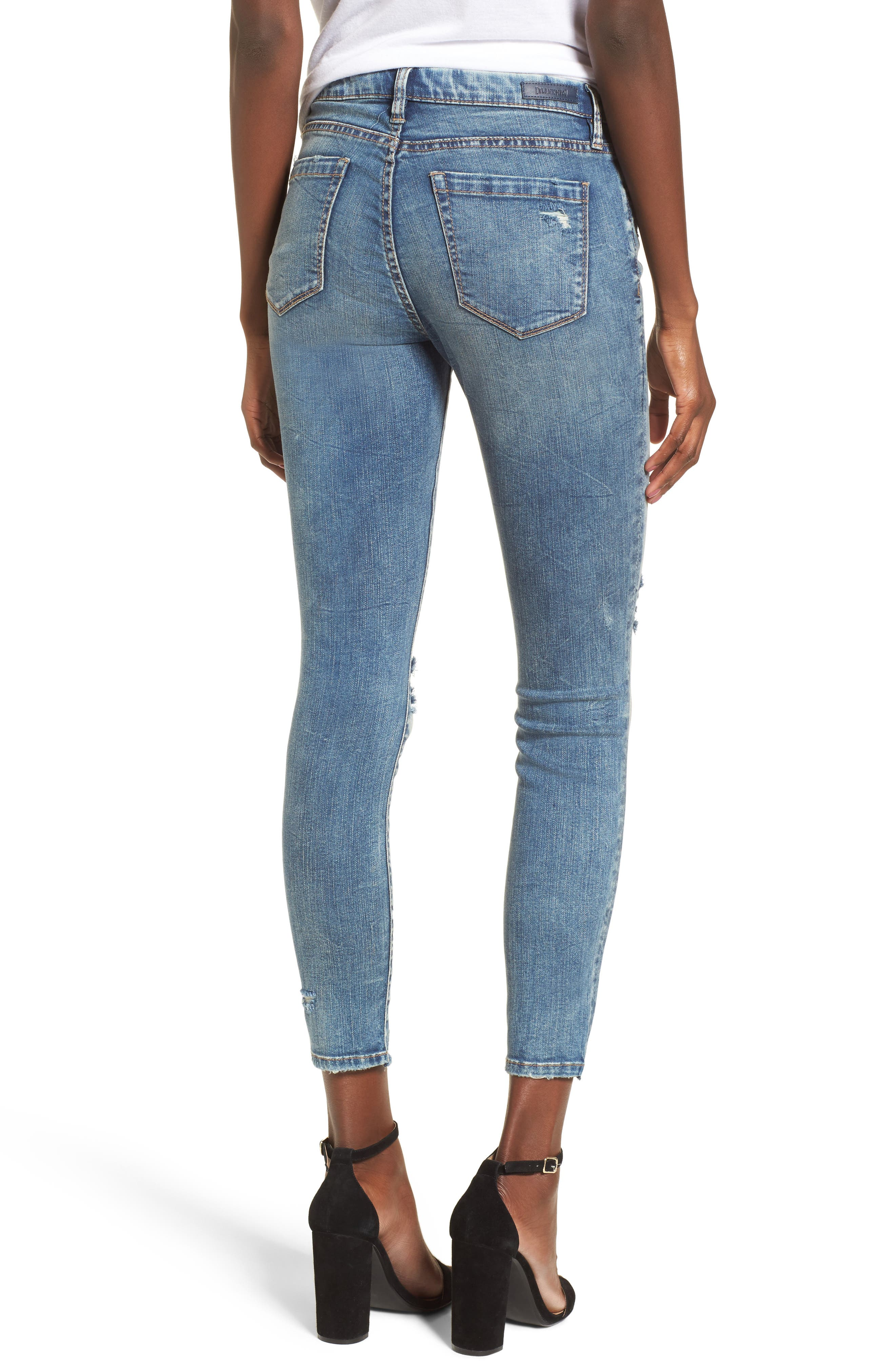Distressed High Waist Skinny Jeans,                             Alternate thumbnail 2, color,                             400