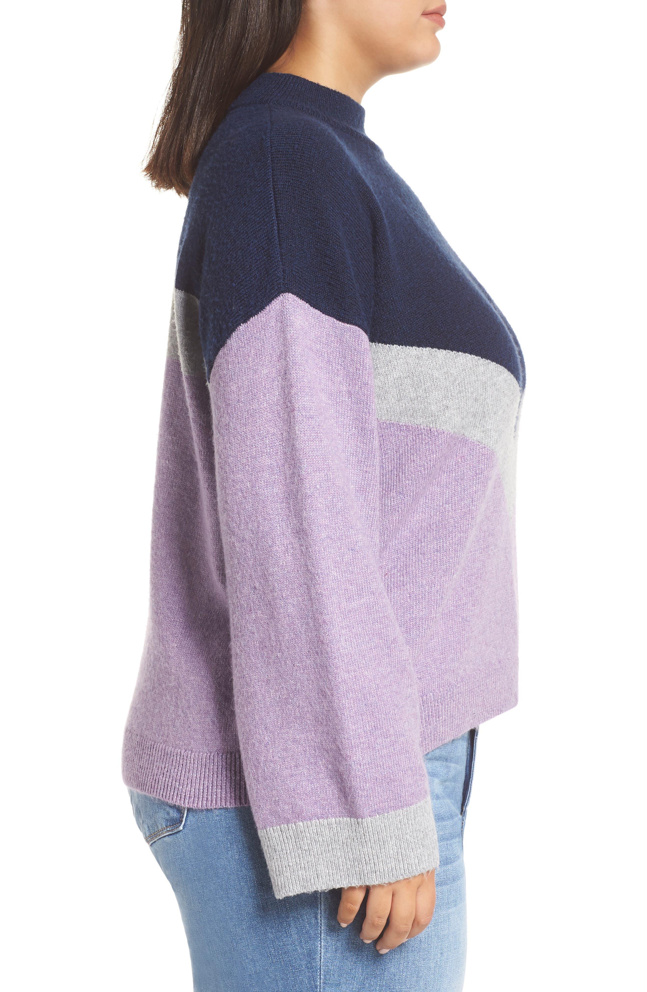 Chevron Stripe Sweater,                             Alternate thumbnail 3, color,                             PURPLE WAVE CHALET