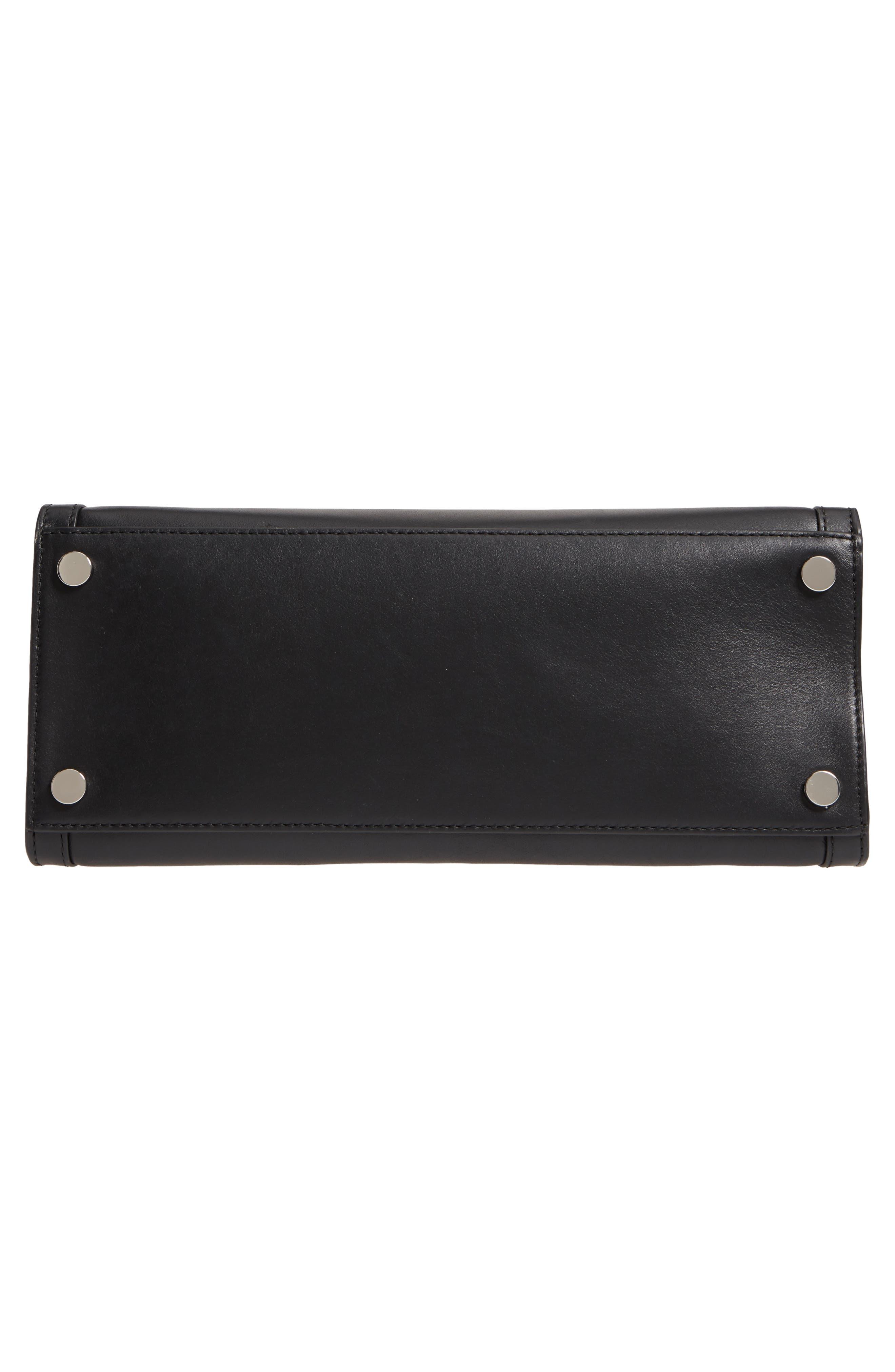 Large Whitney Leather Satchel,                             Alternate thumbnail 6, color,                             BLACK