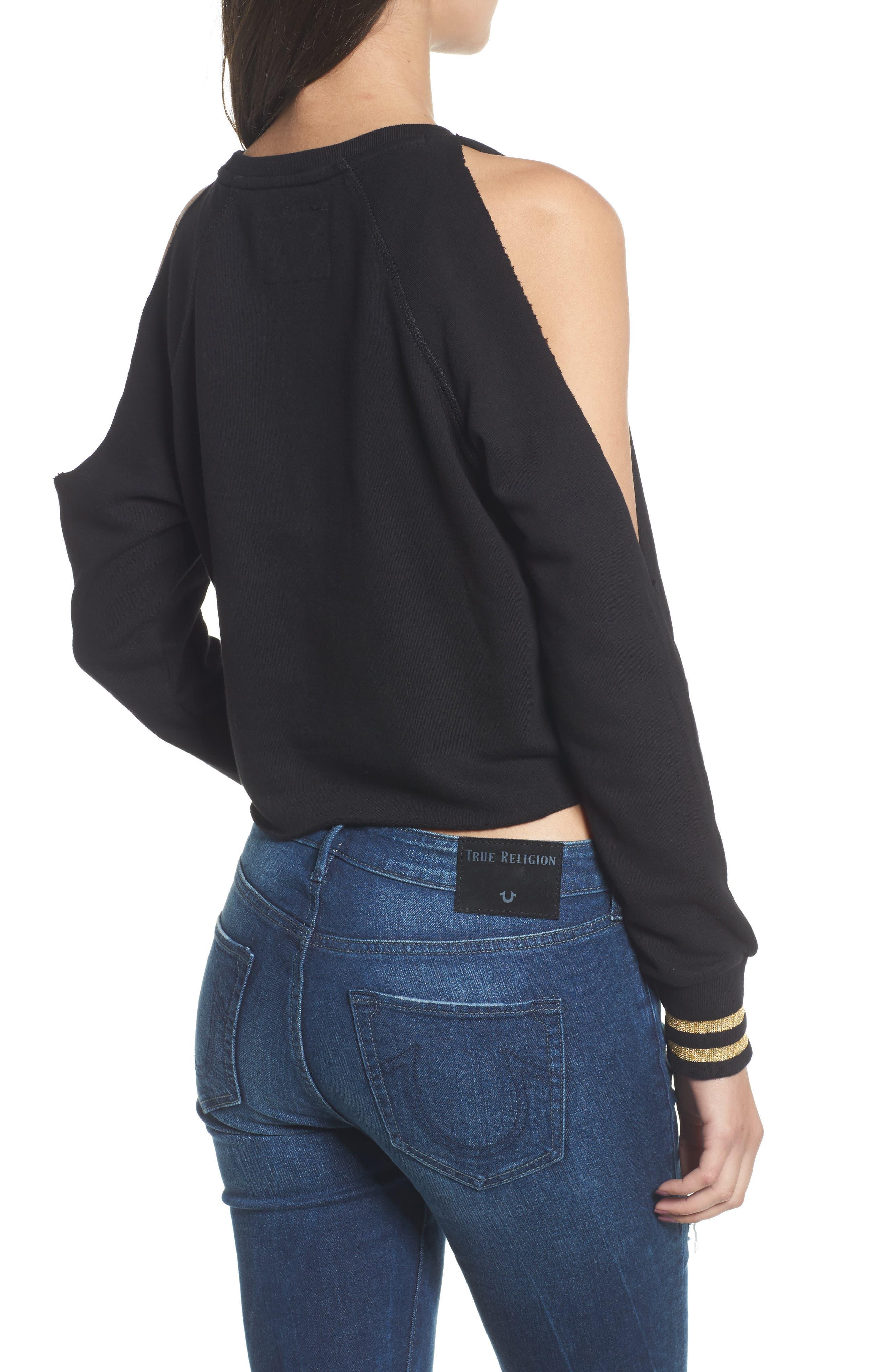 Cold Shoulder Crop Sweatshirt,                             Alternate thumbnail 2, color,                             001