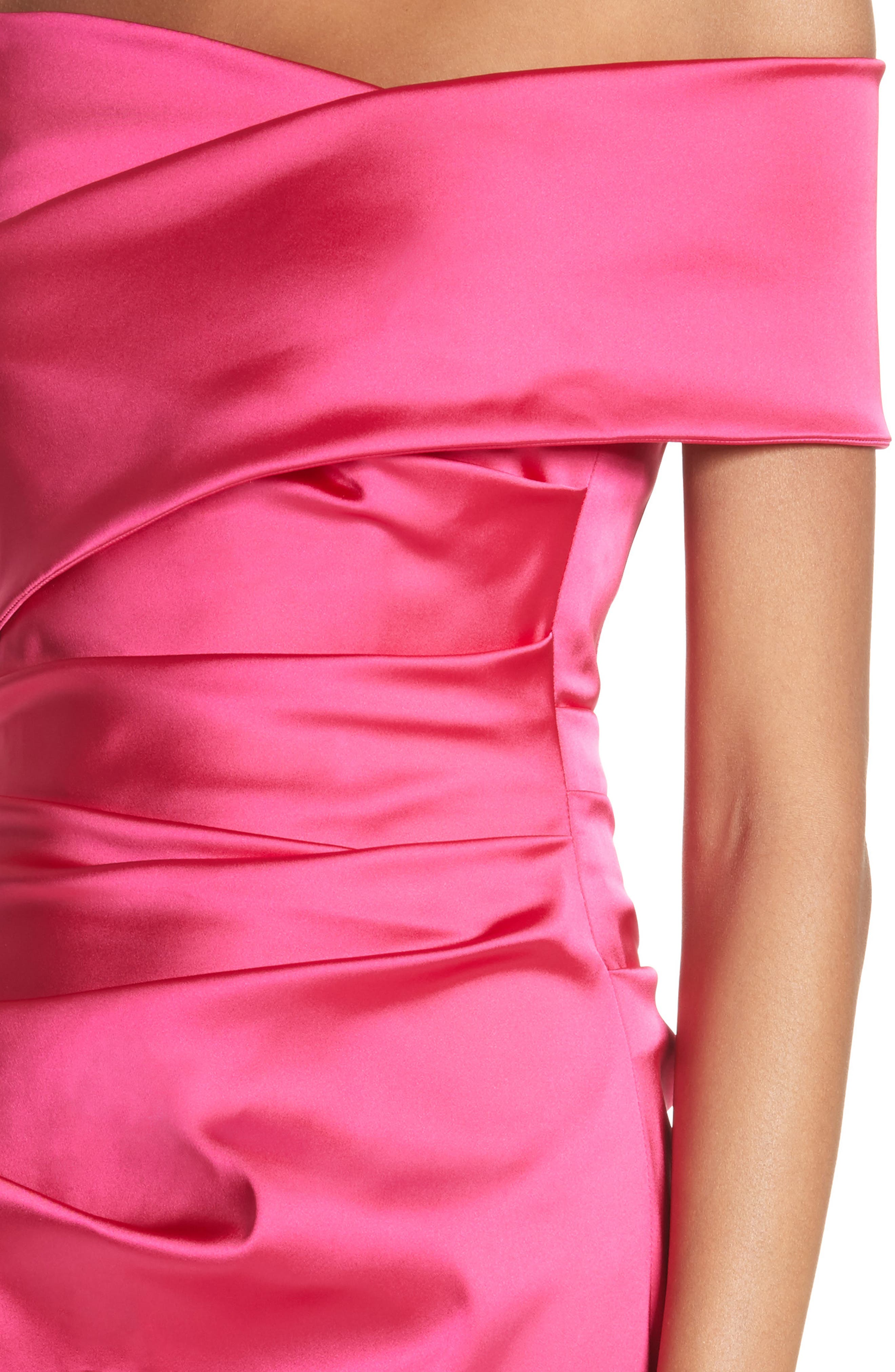 Stretch Satin Off the Shoulder Column Gown,                             Alternate thumbnail 4, color,                             BEGONIA