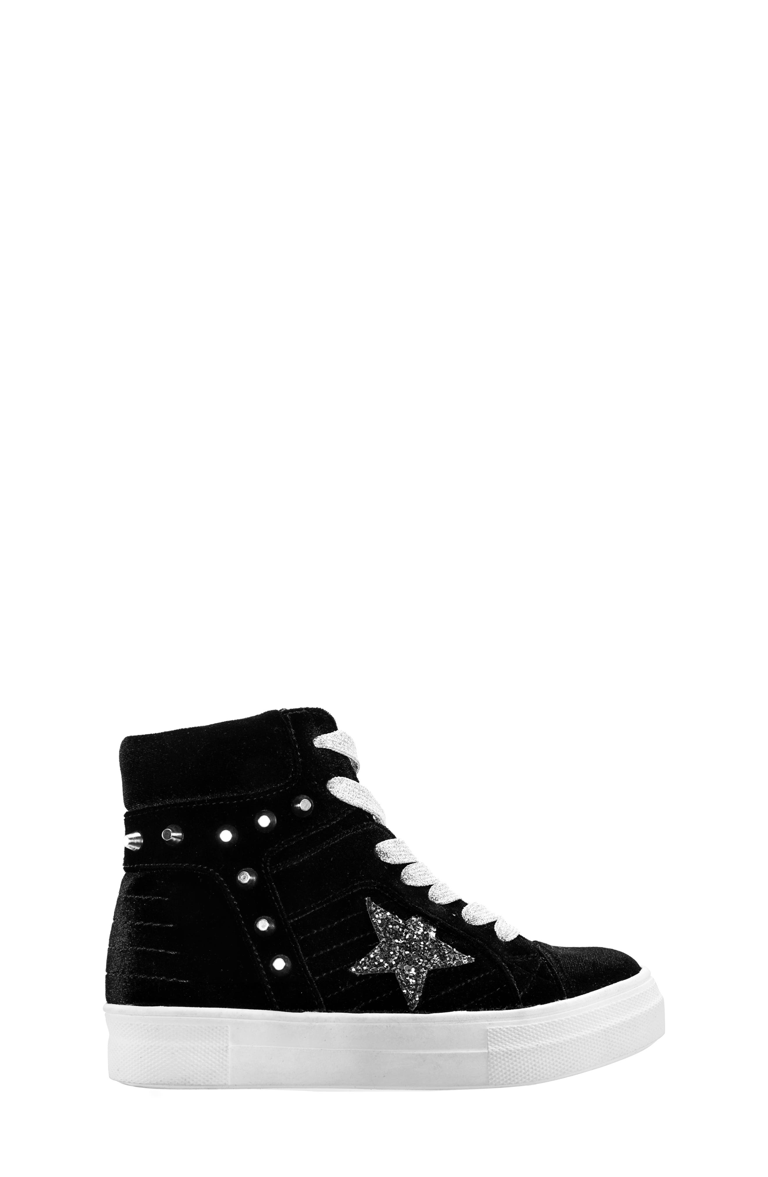 Ima Studded High Top Sneaker,                             Alternate thumbnail 3, color,                             BLACK VELVET