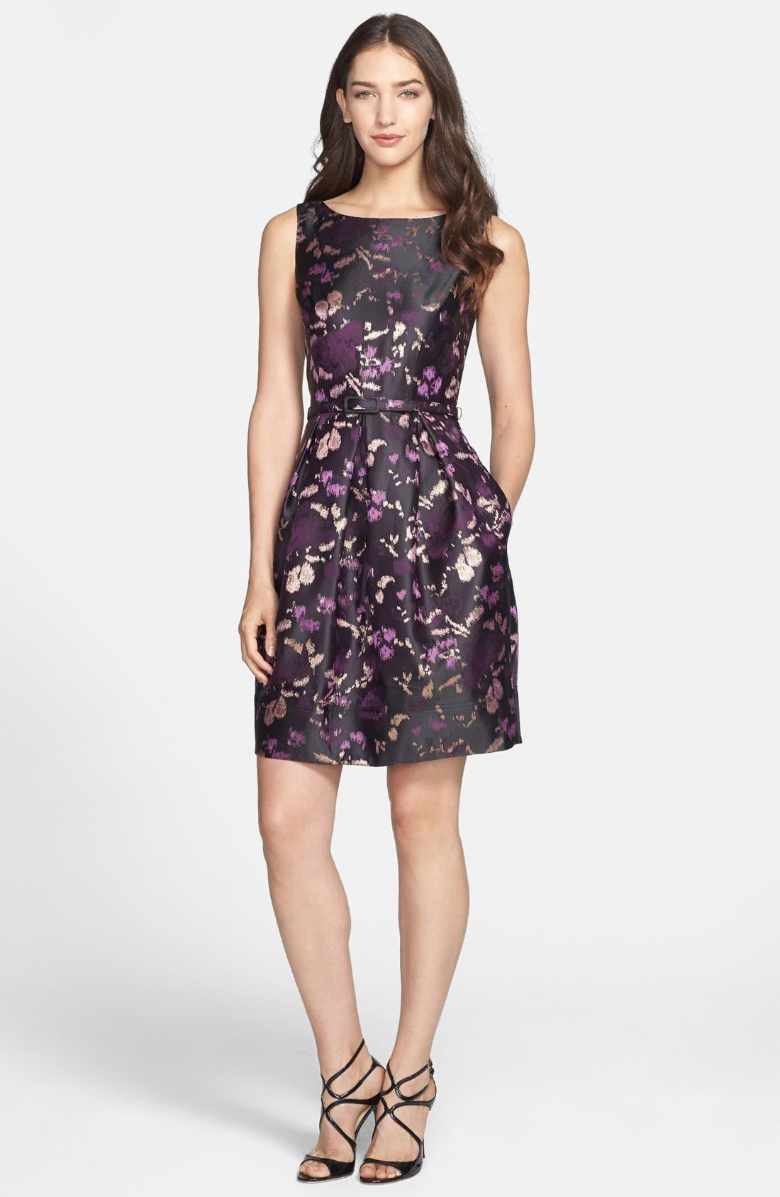 ELIZA J Brocade Fit & Flare Dress, Main, color, 500