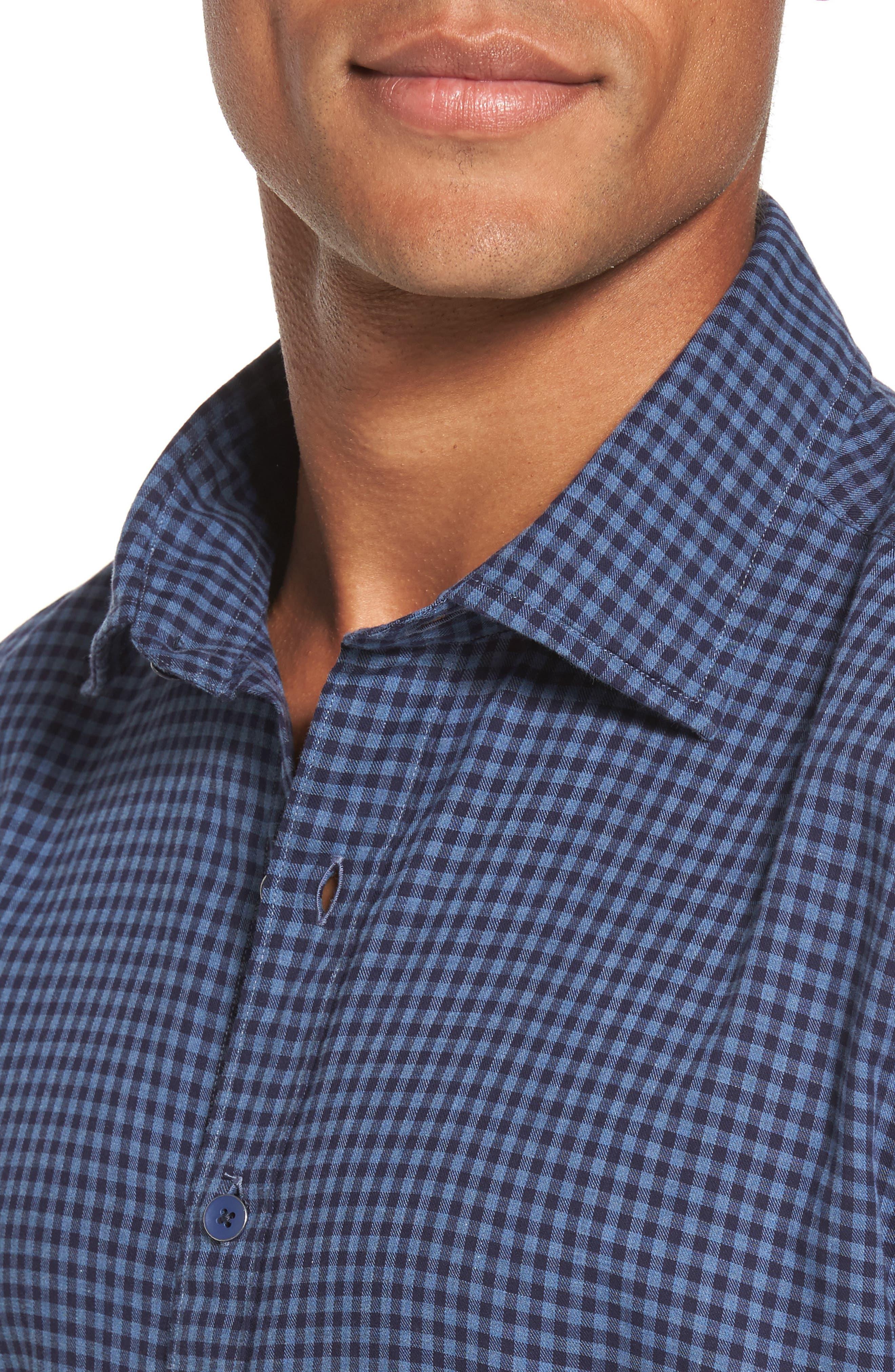 Kennington Regular Fit Gingham Sport Shirt,                             Alternate thumbnail 4, color,                             401
