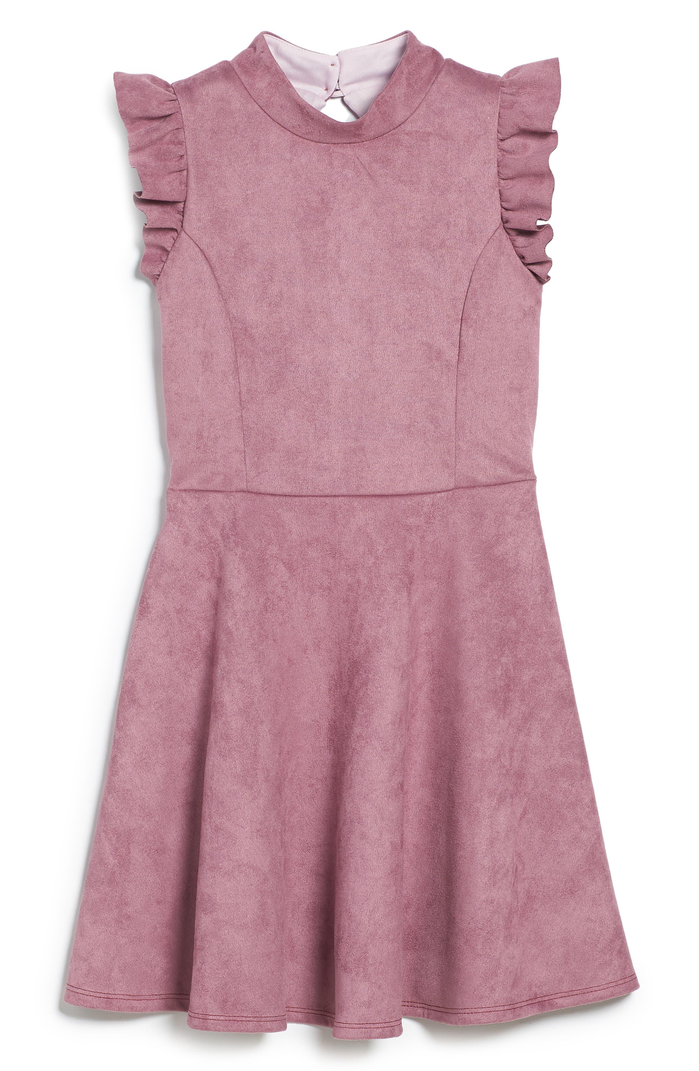Mock Neck Skater Dress,                         Main,                         color, MAUVE