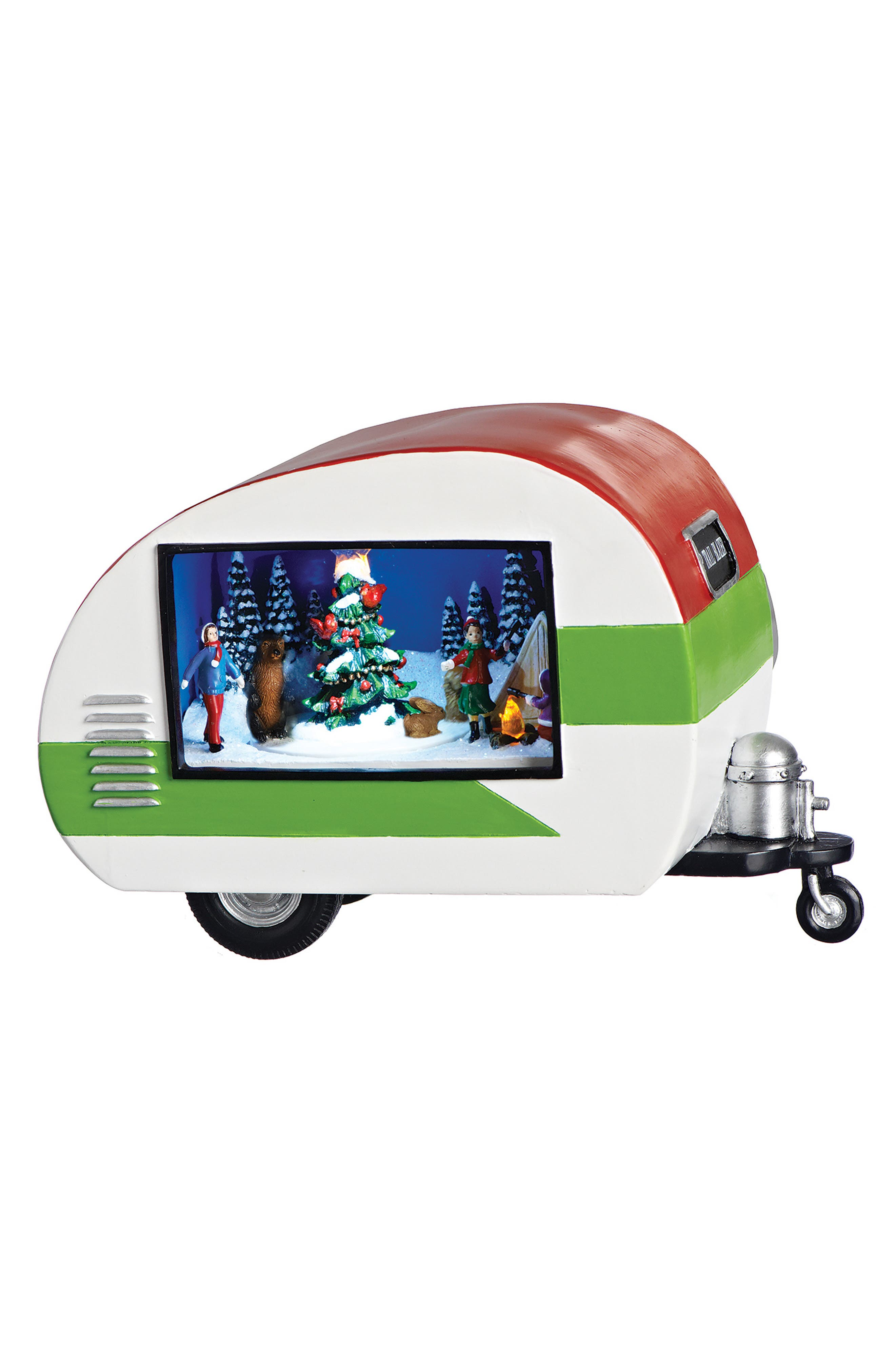 Musical LED Trailer with Christmas Decoration,                             Main thumbnail 1, color,                             RED MULTI