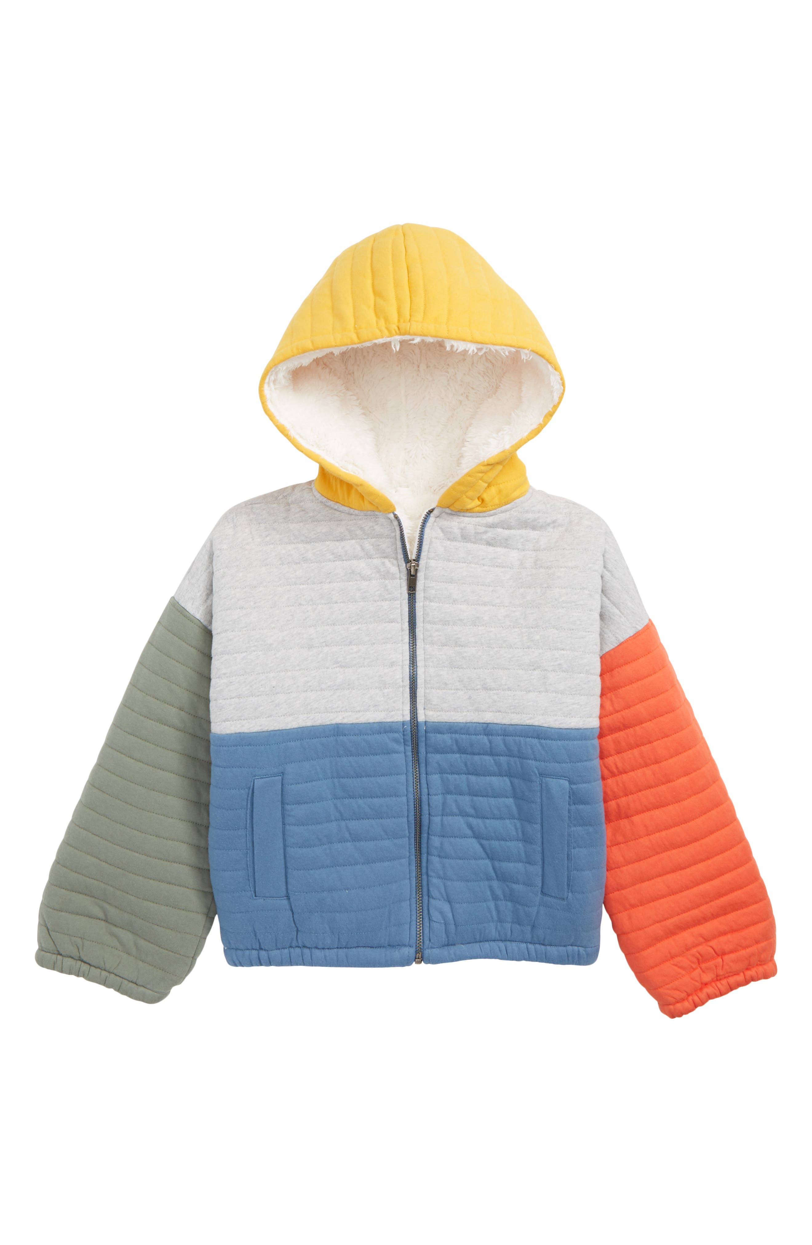 Quilted Jacket with Faux Fur Lining,                             Main thumbnail 1, color,                             GREY ASH HEATHER- BLUE