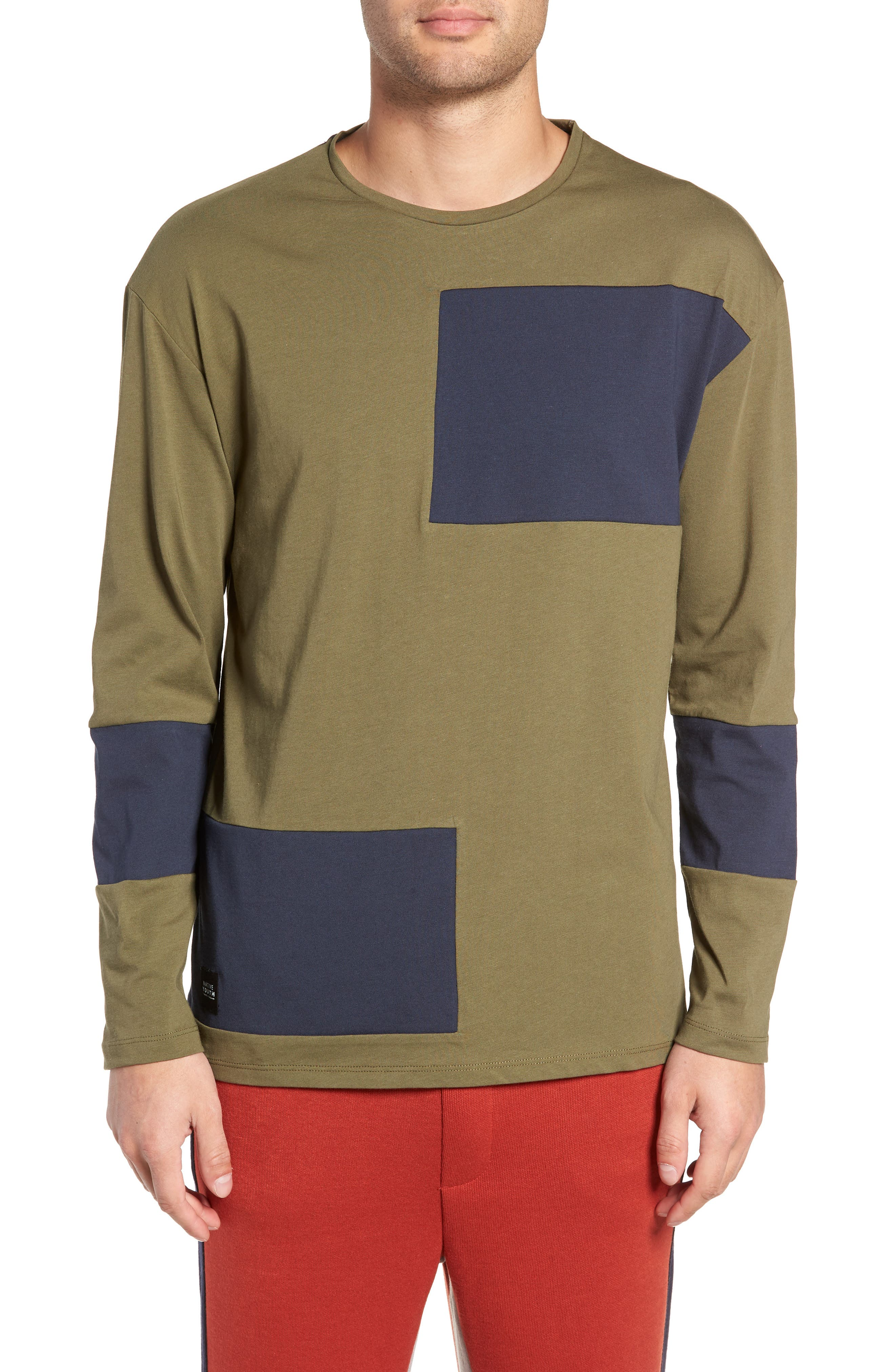 Colorblock Long Sleeve T-Shirt,                         Main,                         color, OLIVE