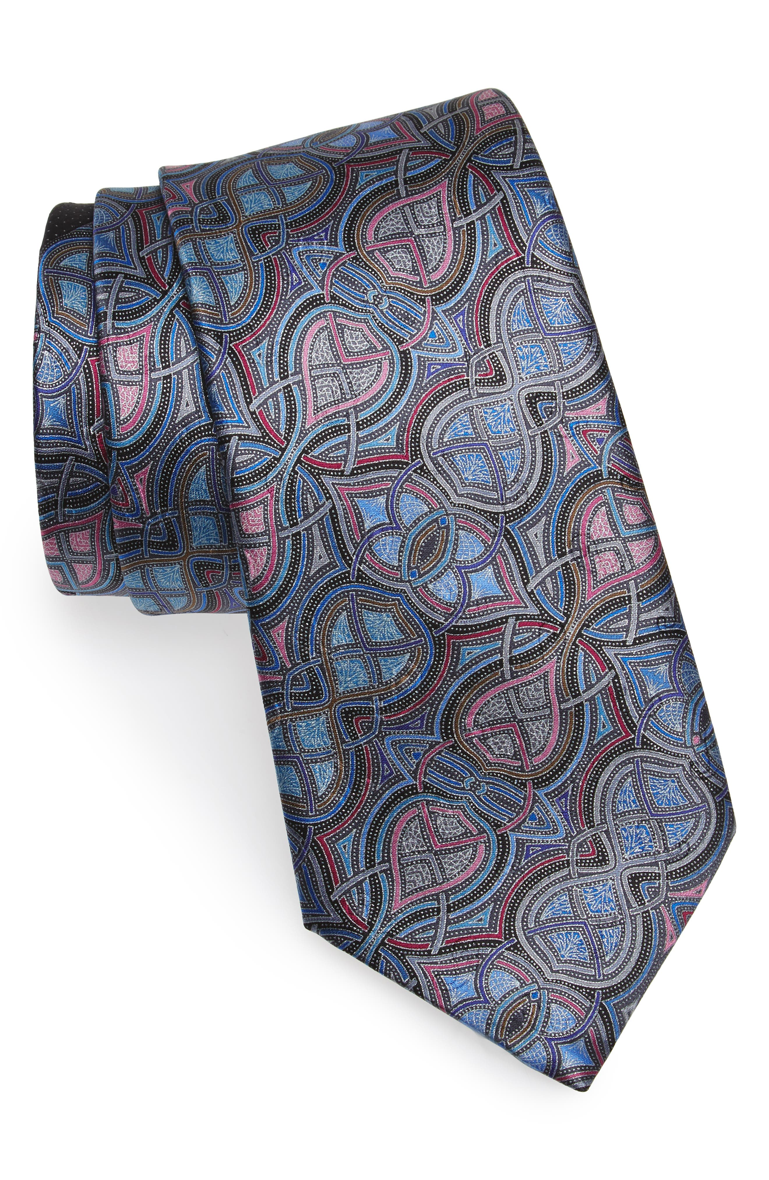 Geometric Silk Tie,                         Main,                         color, 400