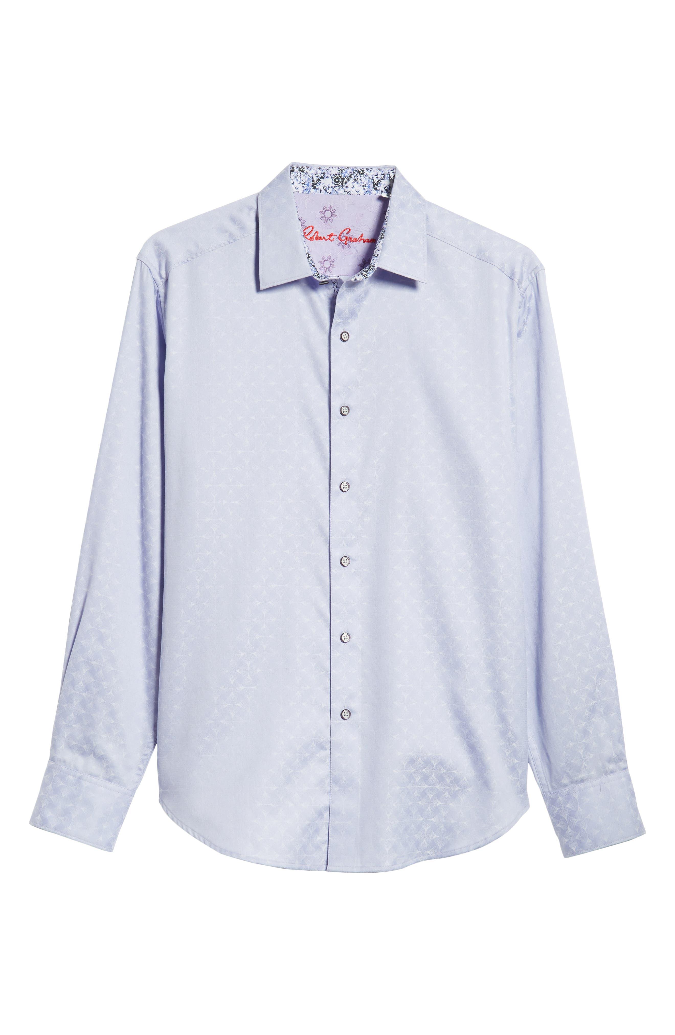 Diamante Classic Fit Print Sport Shirt,                             Alternate thumbnail 5, color,                             LILAC