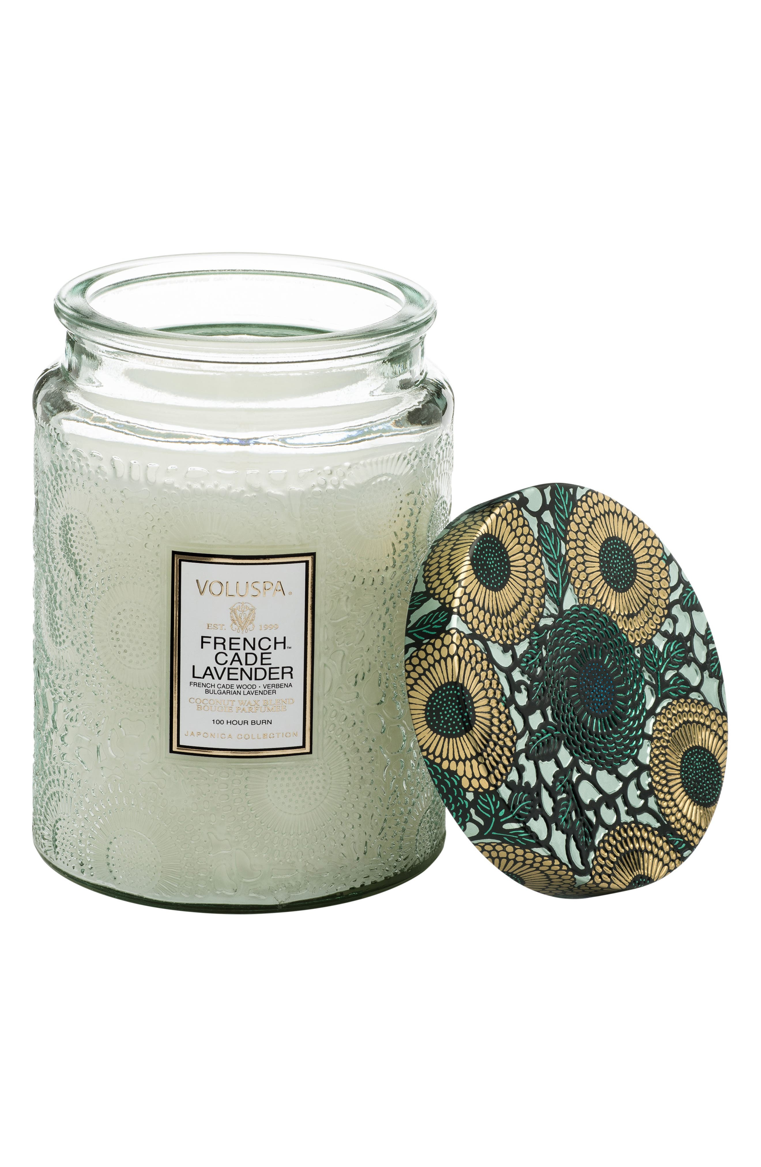 Japonica French Cade Lavender Large Embossed Glass Jar Candle,                             Alternate thumbnail 3, color,                             NO COLOR
