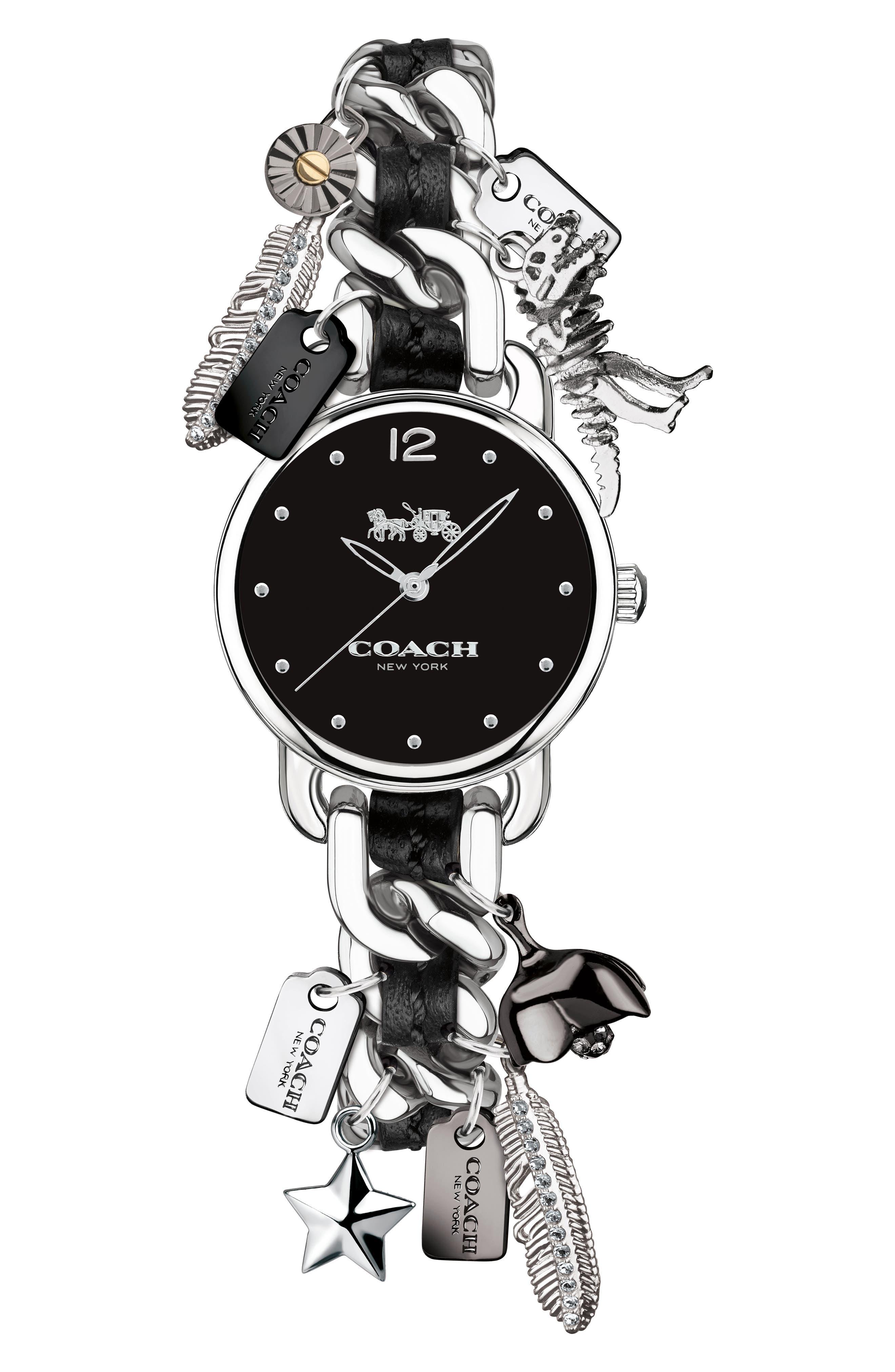 Coach Delancey Round Charm Bracelet Watch 23mm Nordstrom
