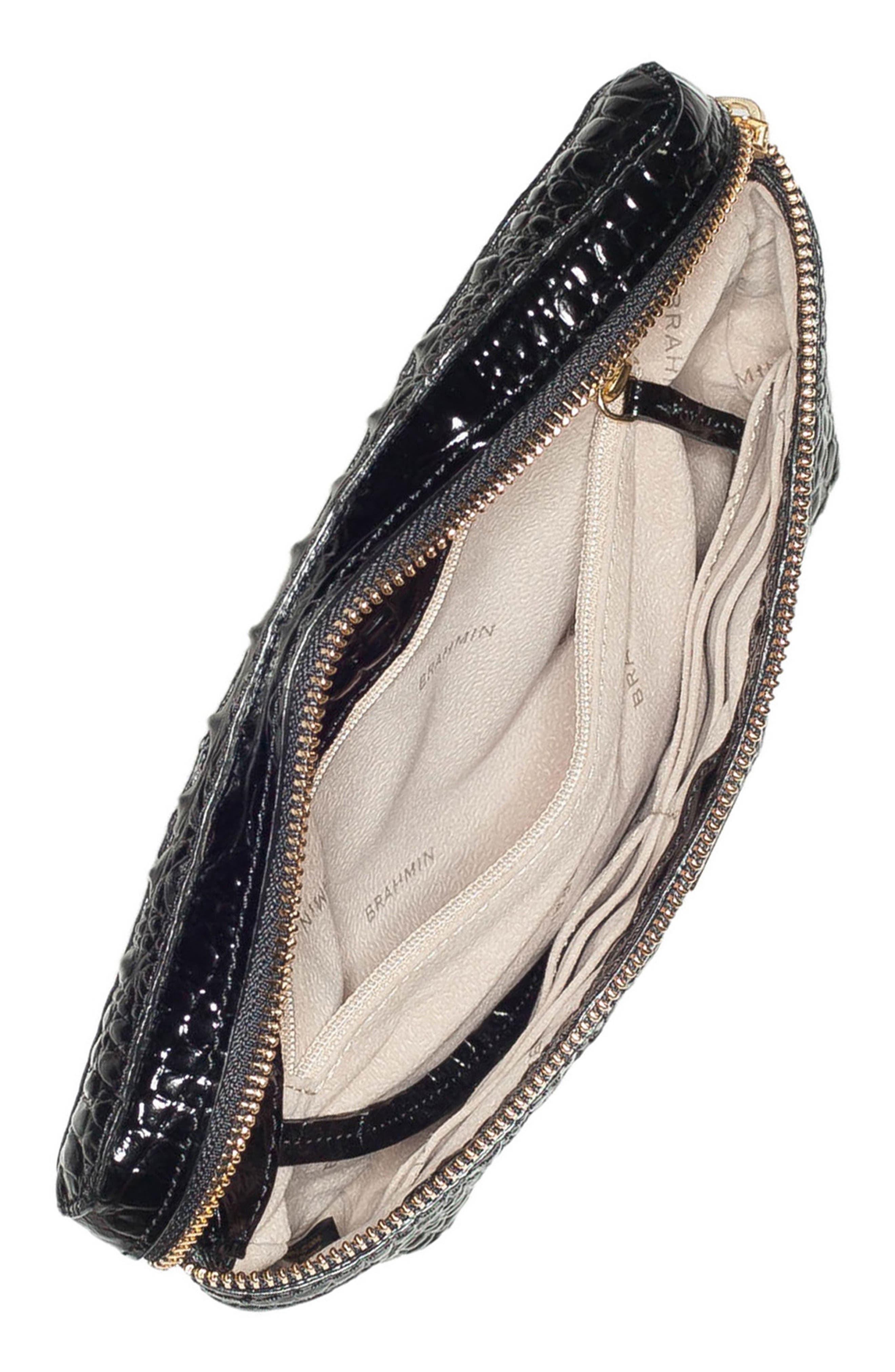 Croc Embossed Leather Belt Bag,                             Alternate thumbnail 4, color,                             BLACK