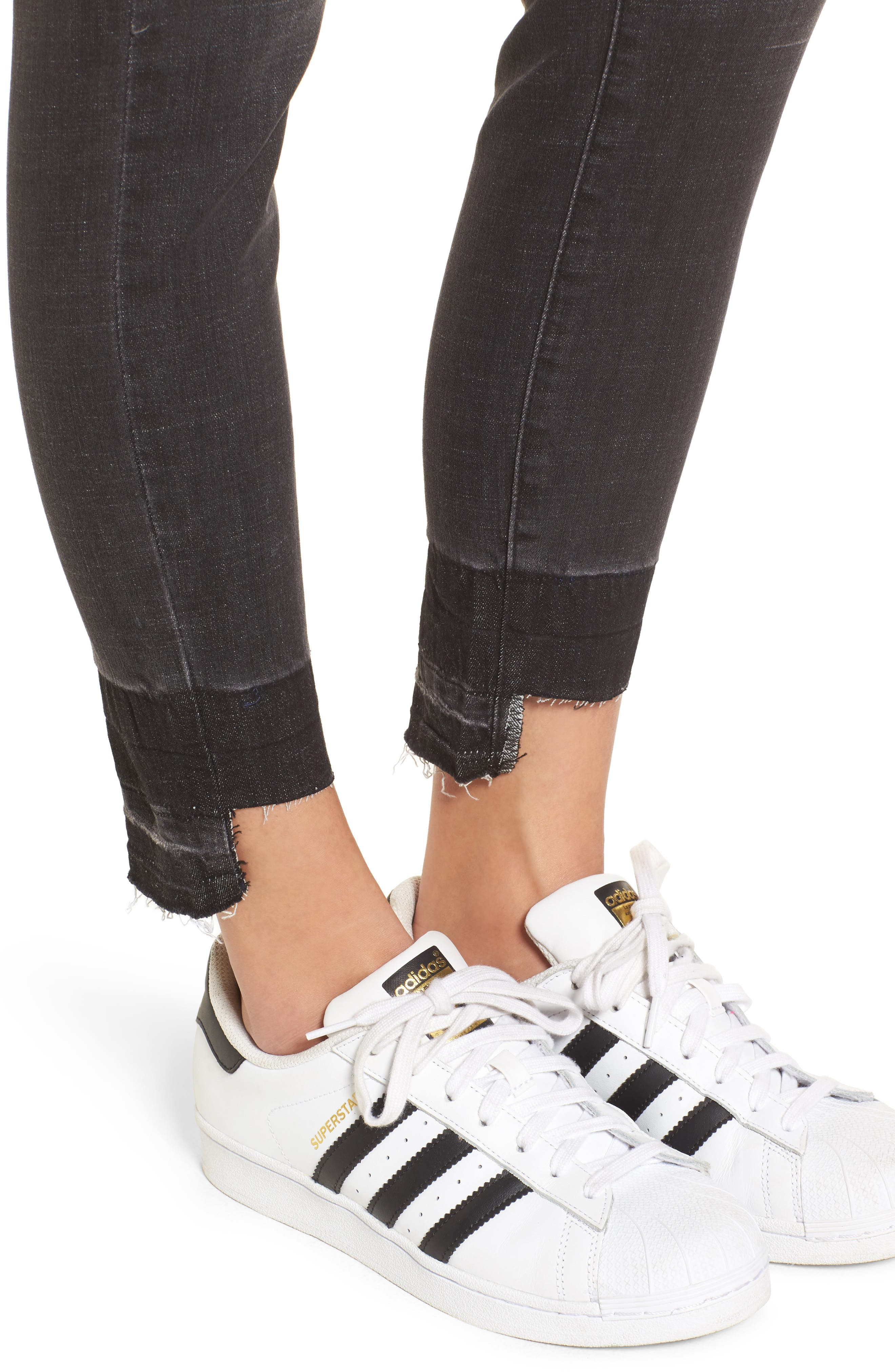 Cry Baby Release Hem Skinny Jeans,                             Alternate thumbnail 4, color,                             001