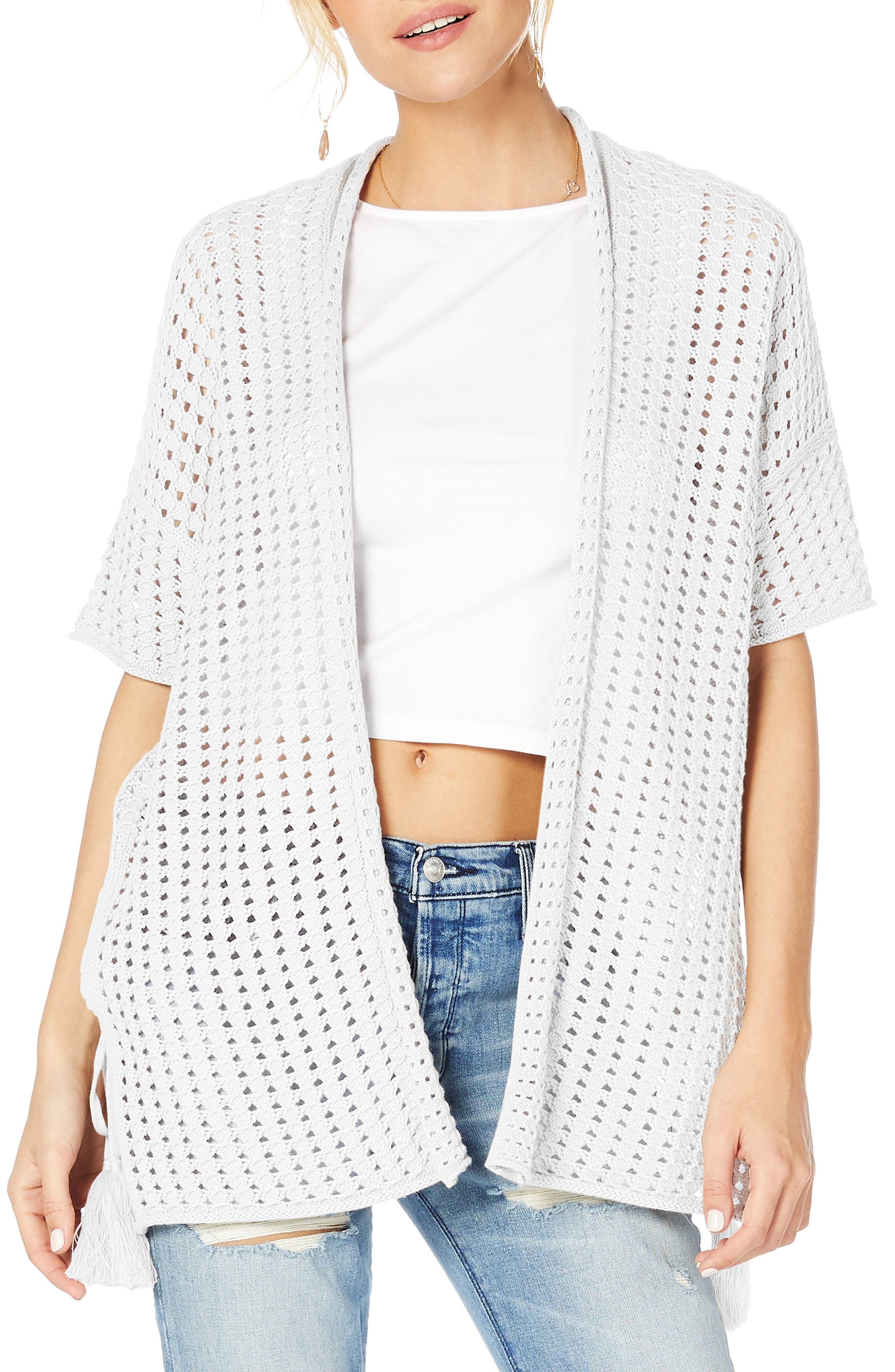 Open Cotton Sweater,                             Main thumbnail 1, color,                             100