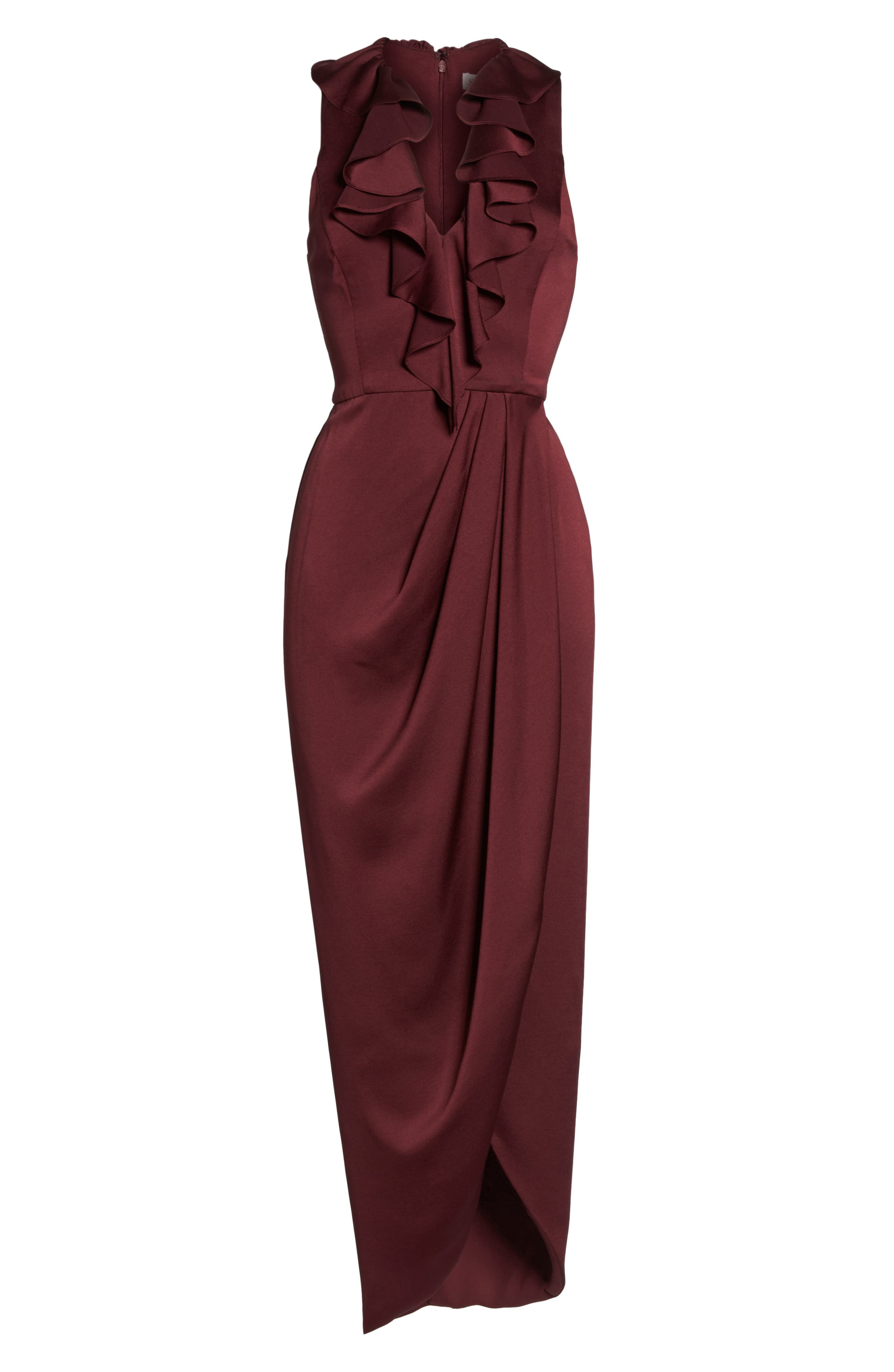 Luxe Plunging Frill Maxi Dress,                             Alternate thumbnail 6, color,                             GARNET