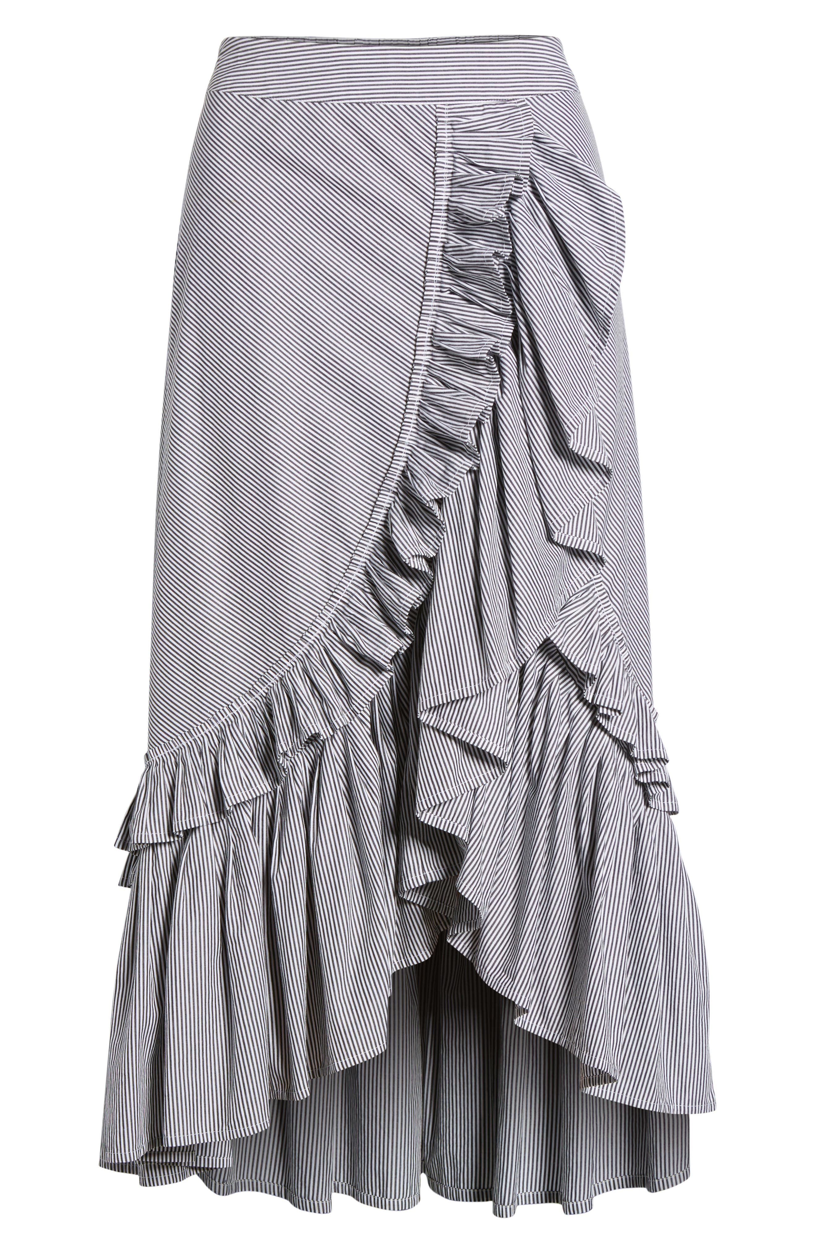 Flounce Ruffle Trim Skirt,                             Alternate thumbnail 6, color,