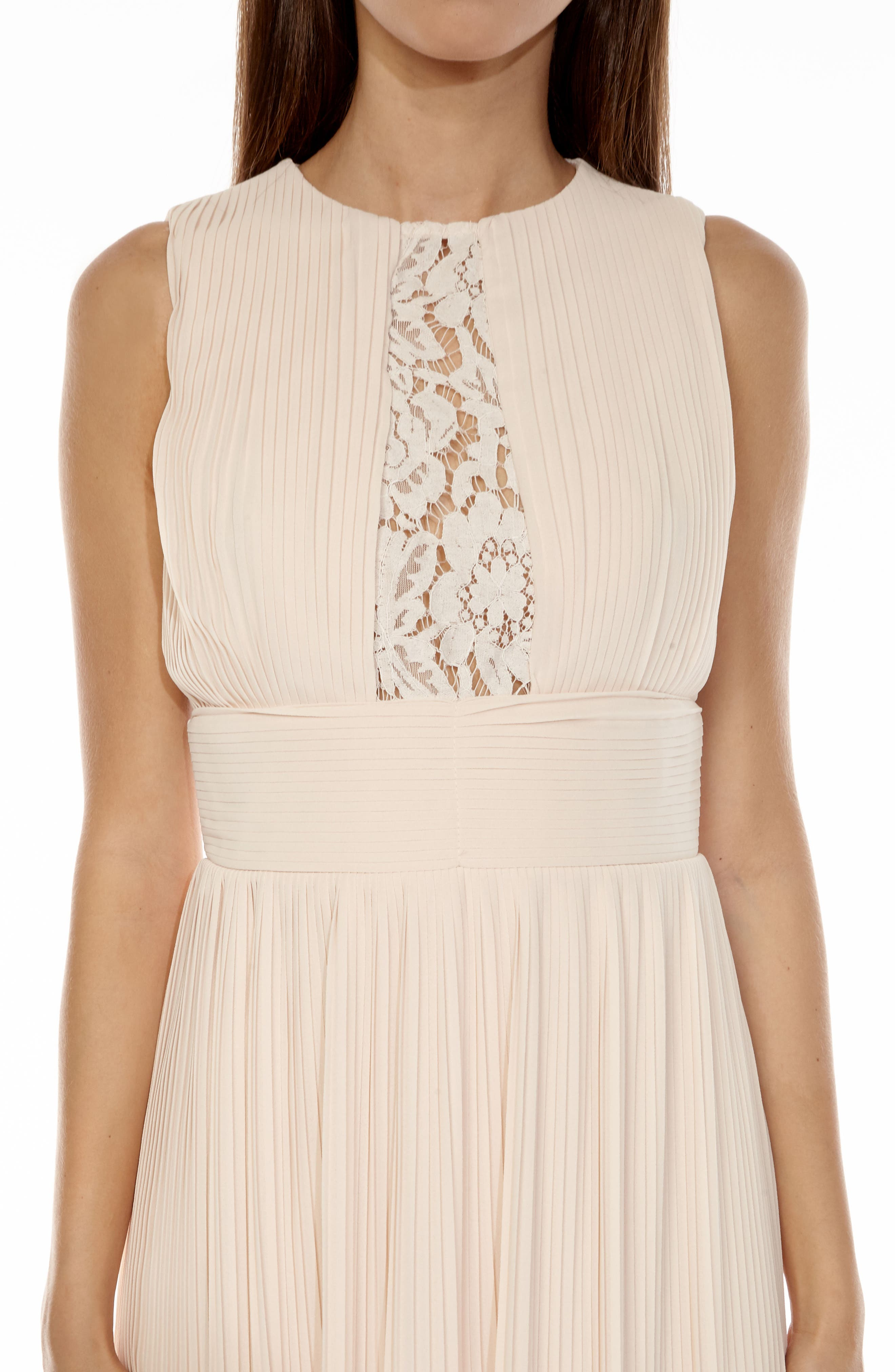 Dori Pleat Chiffon Fit & Flare Dress,                             Alternate thumbnail 4, color,                             680