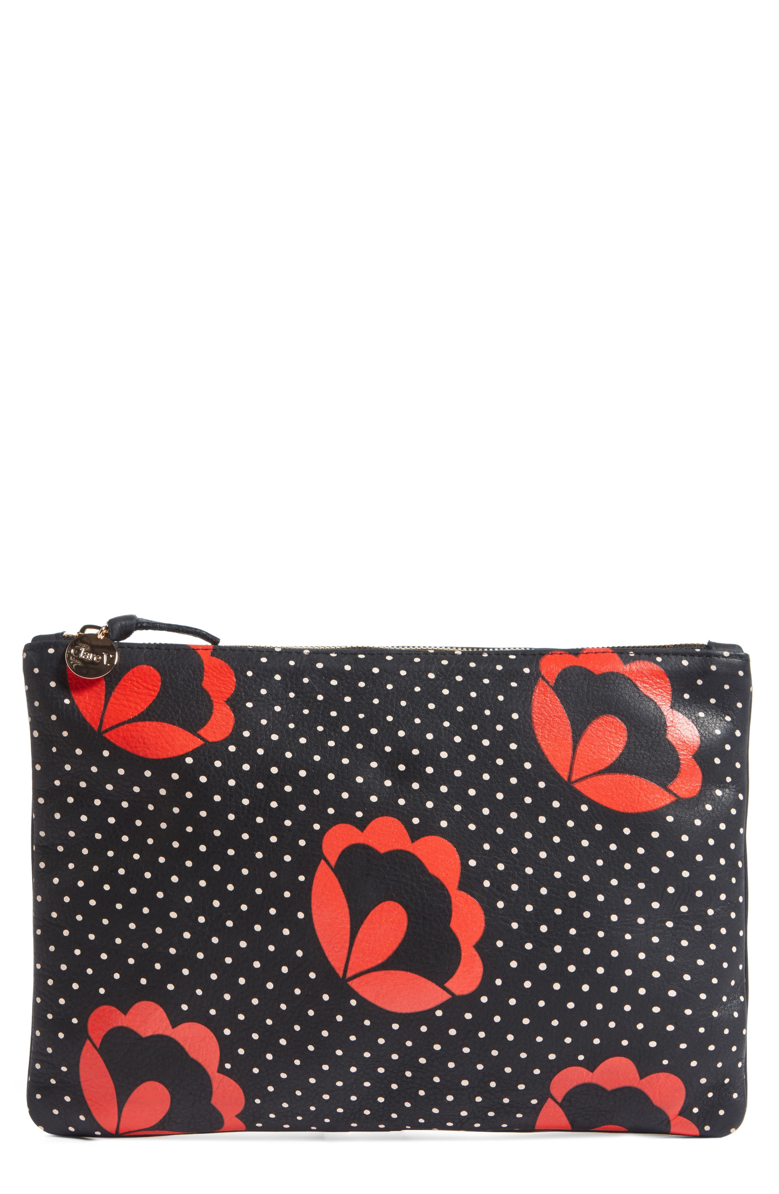 Poppy Print Clutch,                         Main,                         color, 002