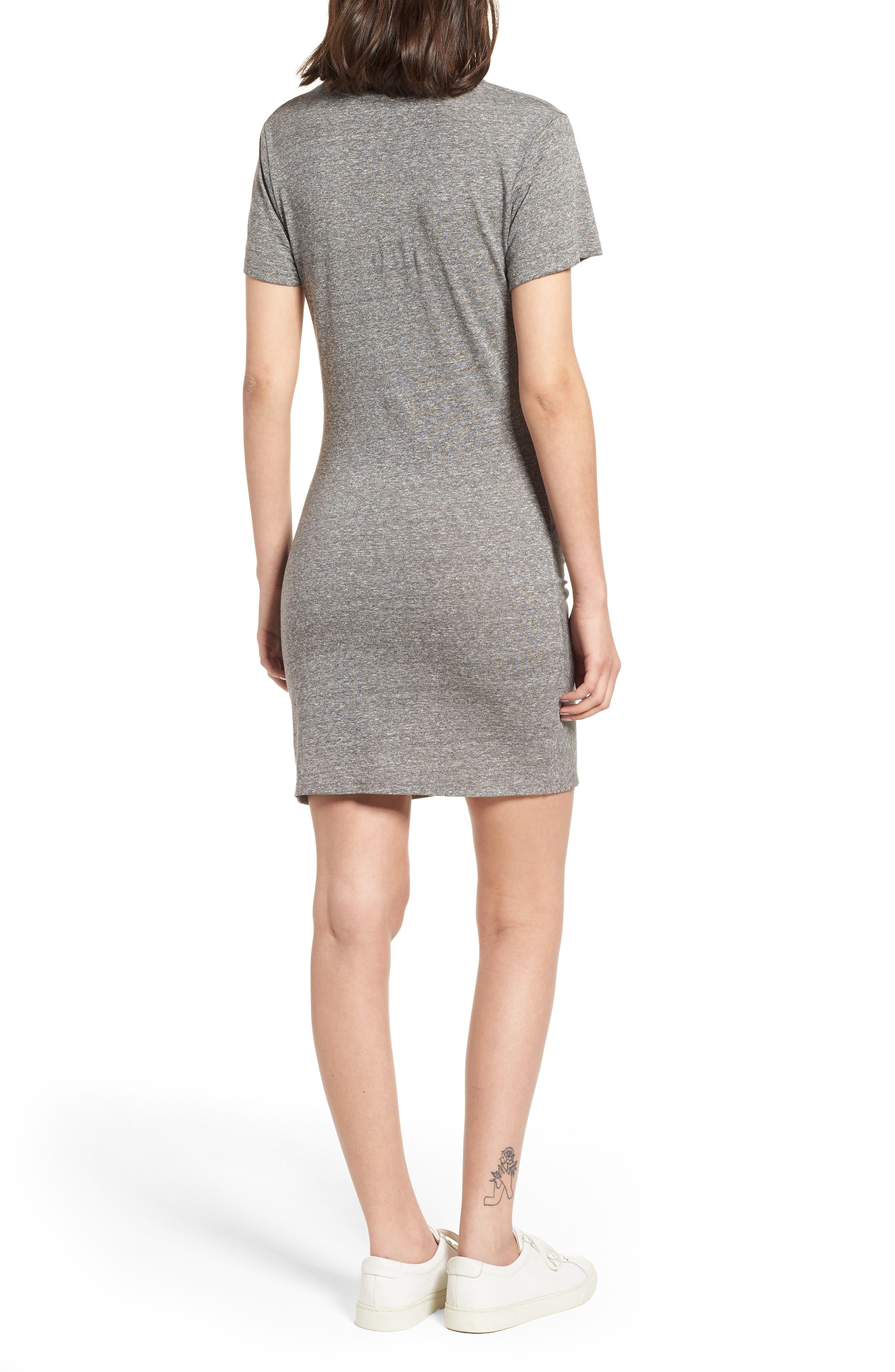 Jazz Twisted T-Shirt Dress,                             Alternate thumbnail 2, color,                             HEATHER GREY