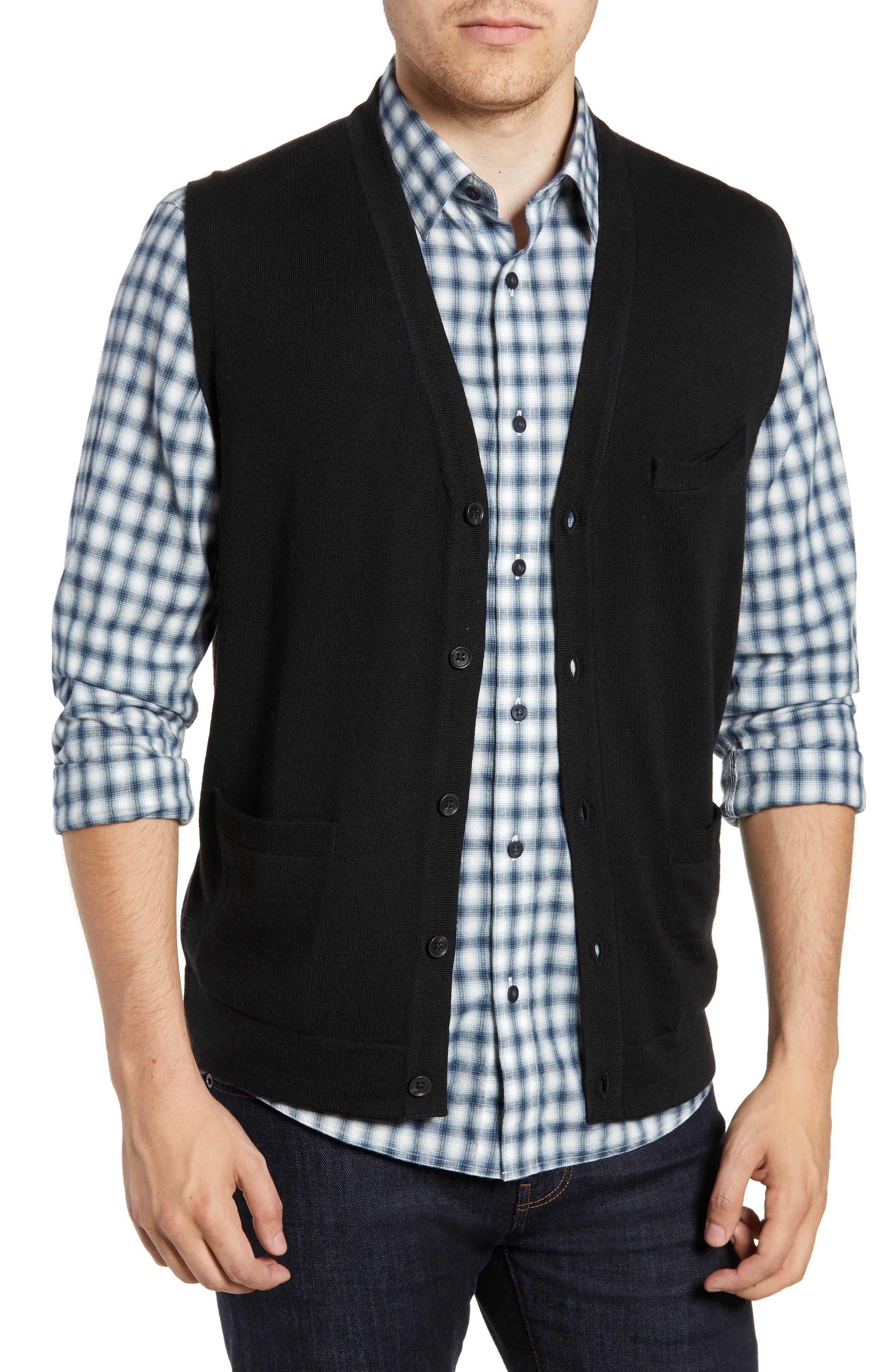 Nordstrom Shop Merino Button Front Sweater Vest, Black