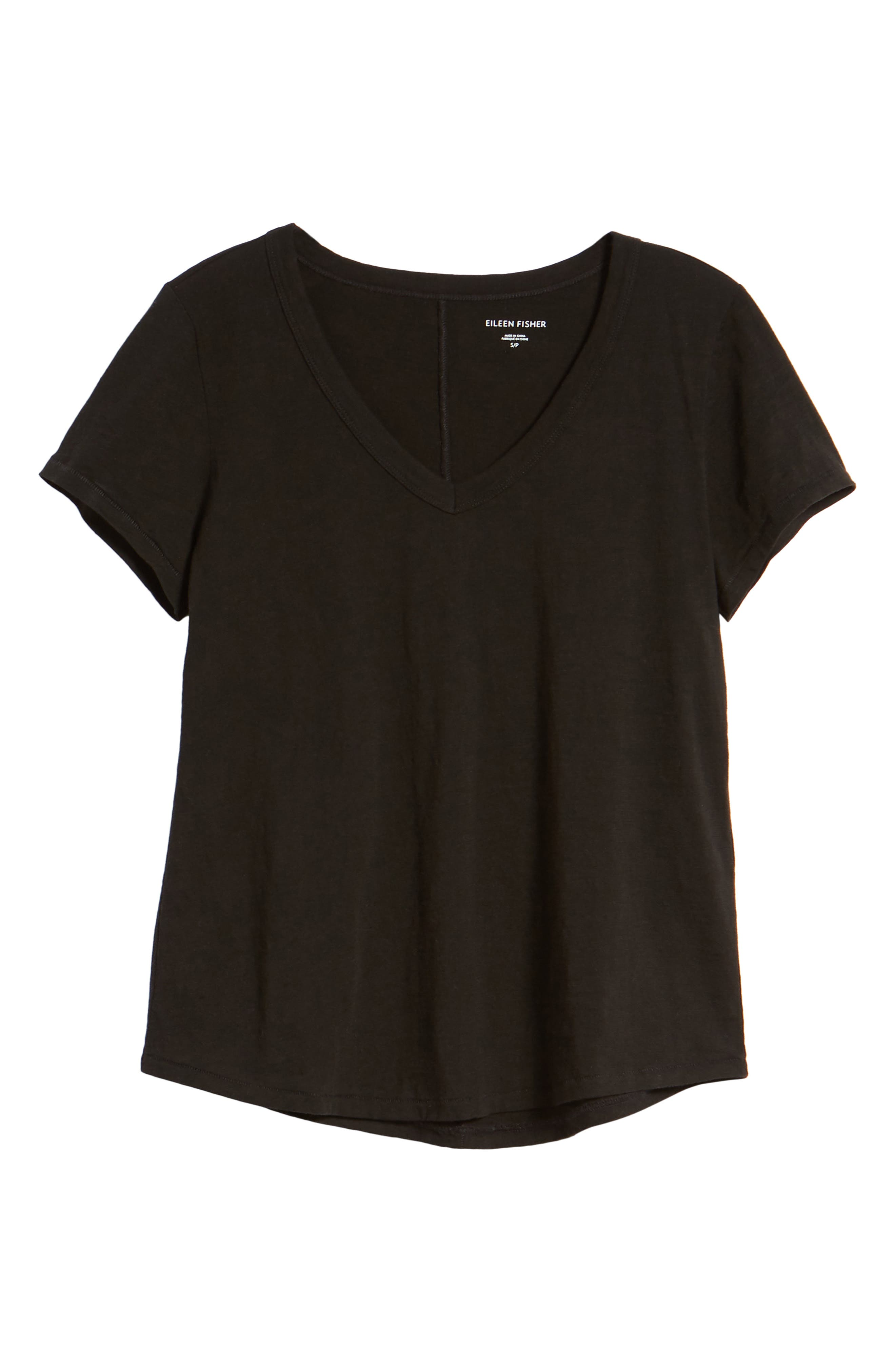 V-Neck Organic Cotton Tee,                             Alternate thumbnail 7, color,                             001