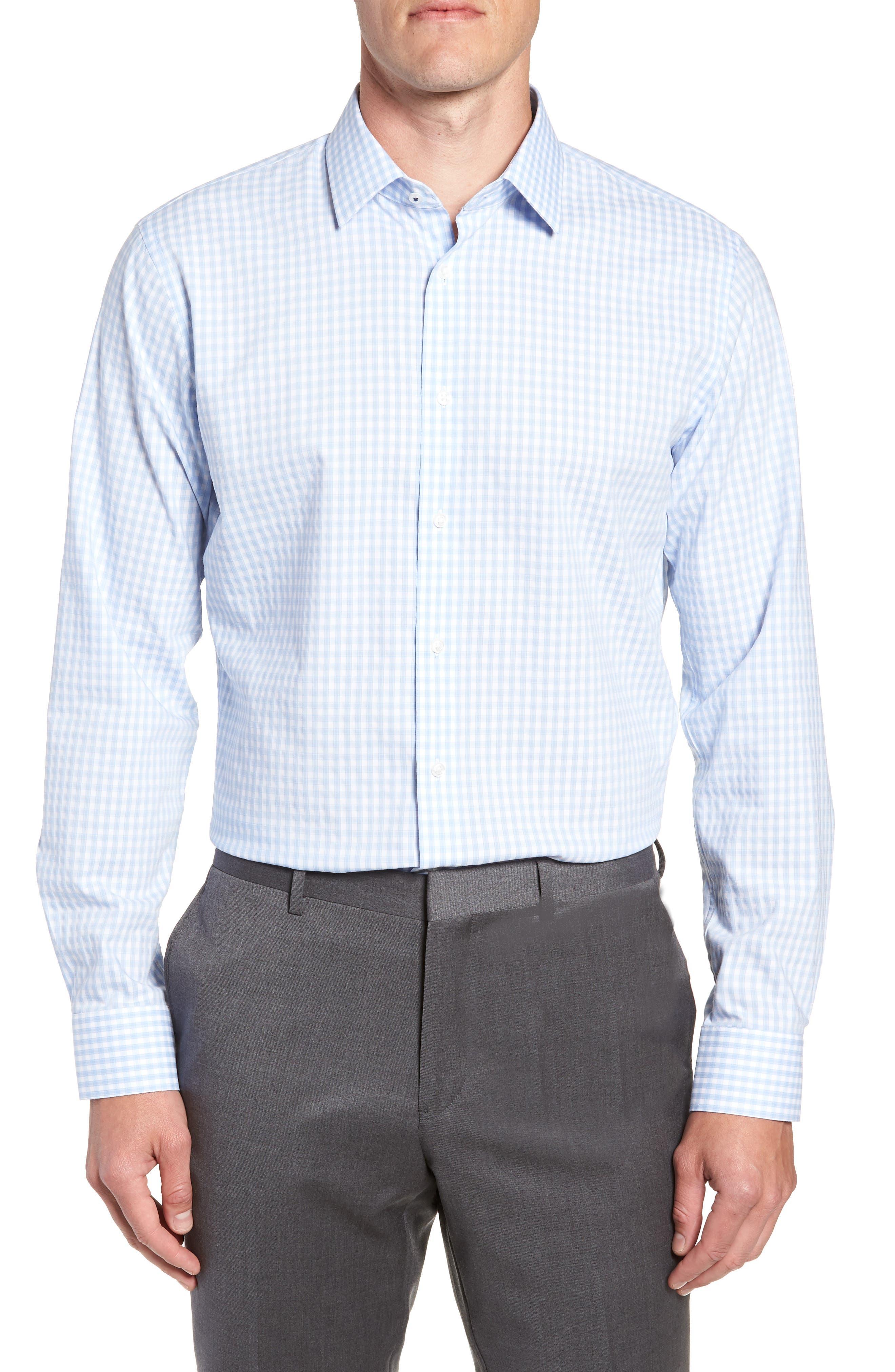 Tech-Smart Trim Fit Stretch Check Dress Shirt,                         Main,                         color, BLUE BRUNNERA