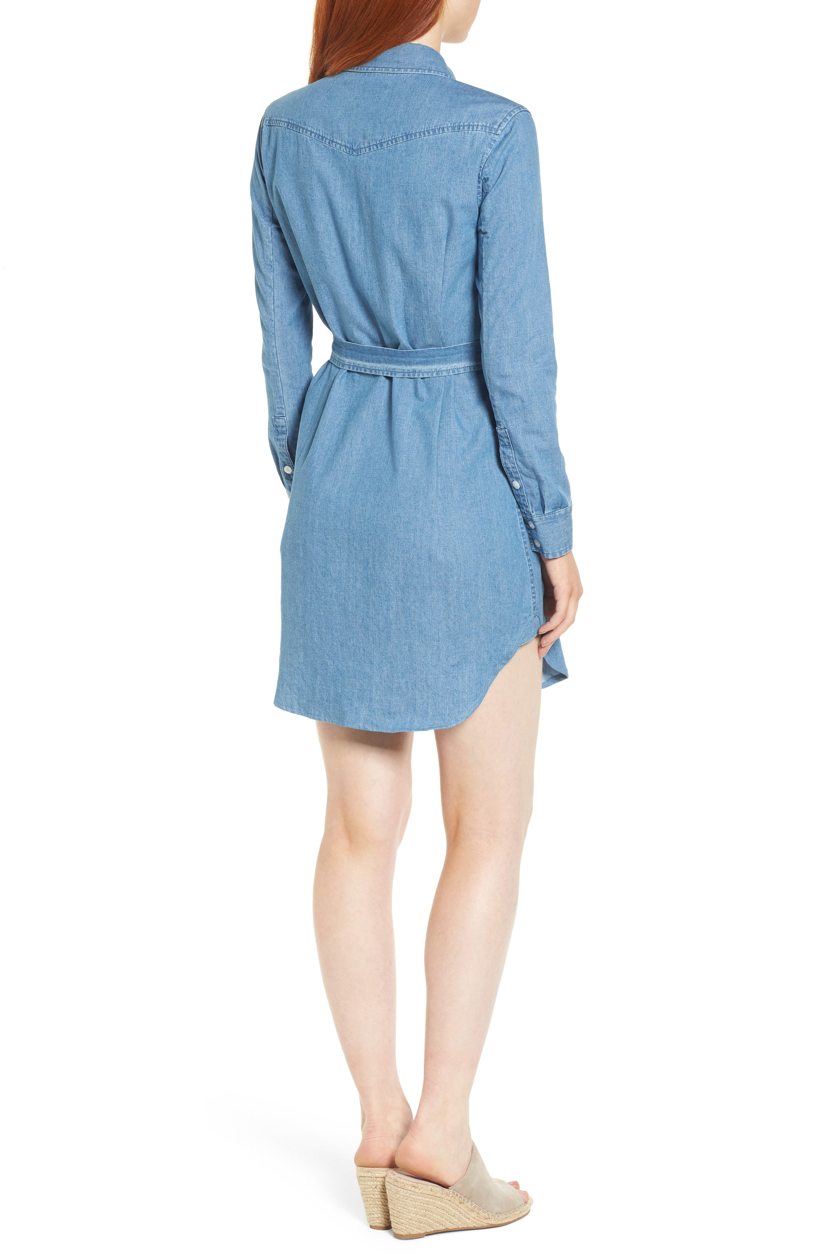 Casual Belted Chambray Shirtdress,                             Alternate thumbnail 2, color,                             455