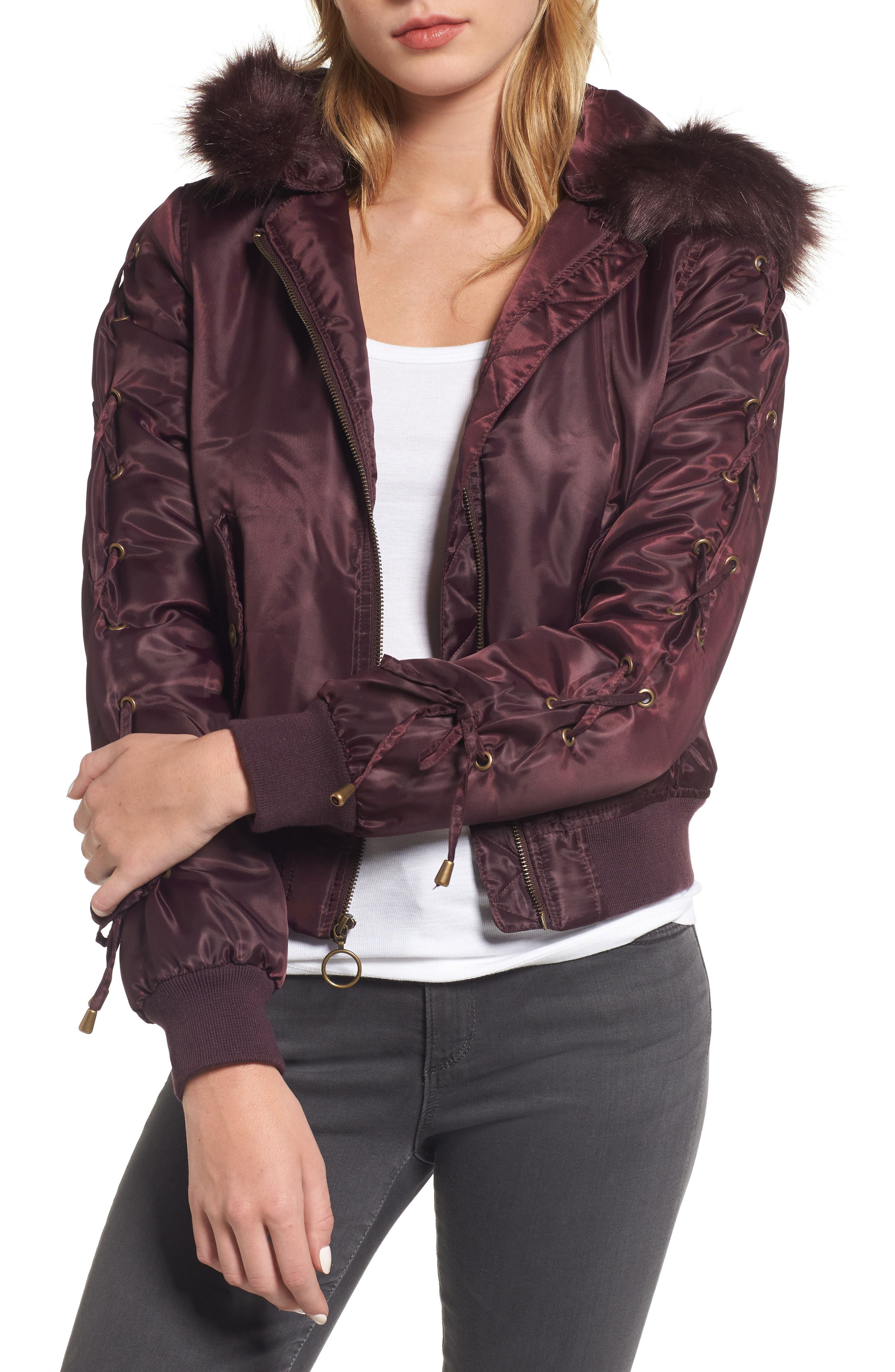 Lace-Up Sleeve Quilted Bomber Jacket,                             Main thumbnail 2, color,