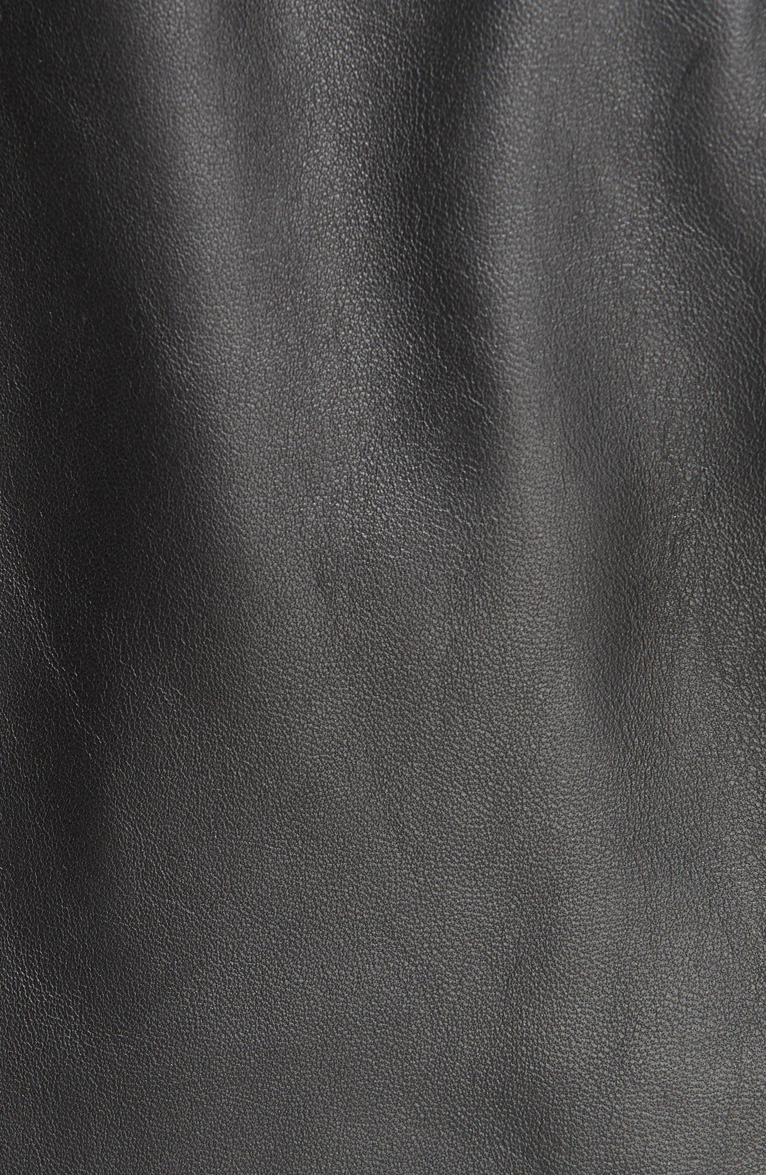 Crop Plongé Leather Jacket,                             Alternate thumbnail 7, color,                             BLACK