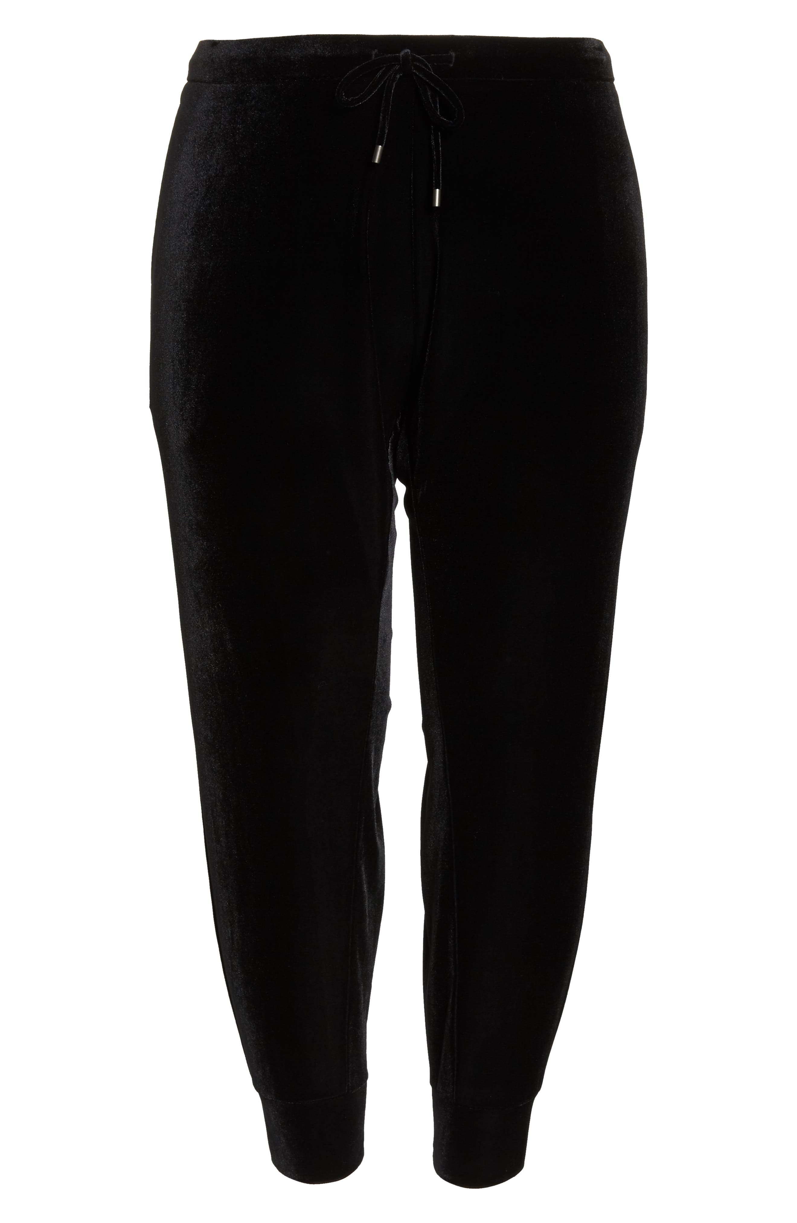 High Rise Crop Velvet Jogger Pants,                             Alternate thumbnail 12, color,                             BLACK
