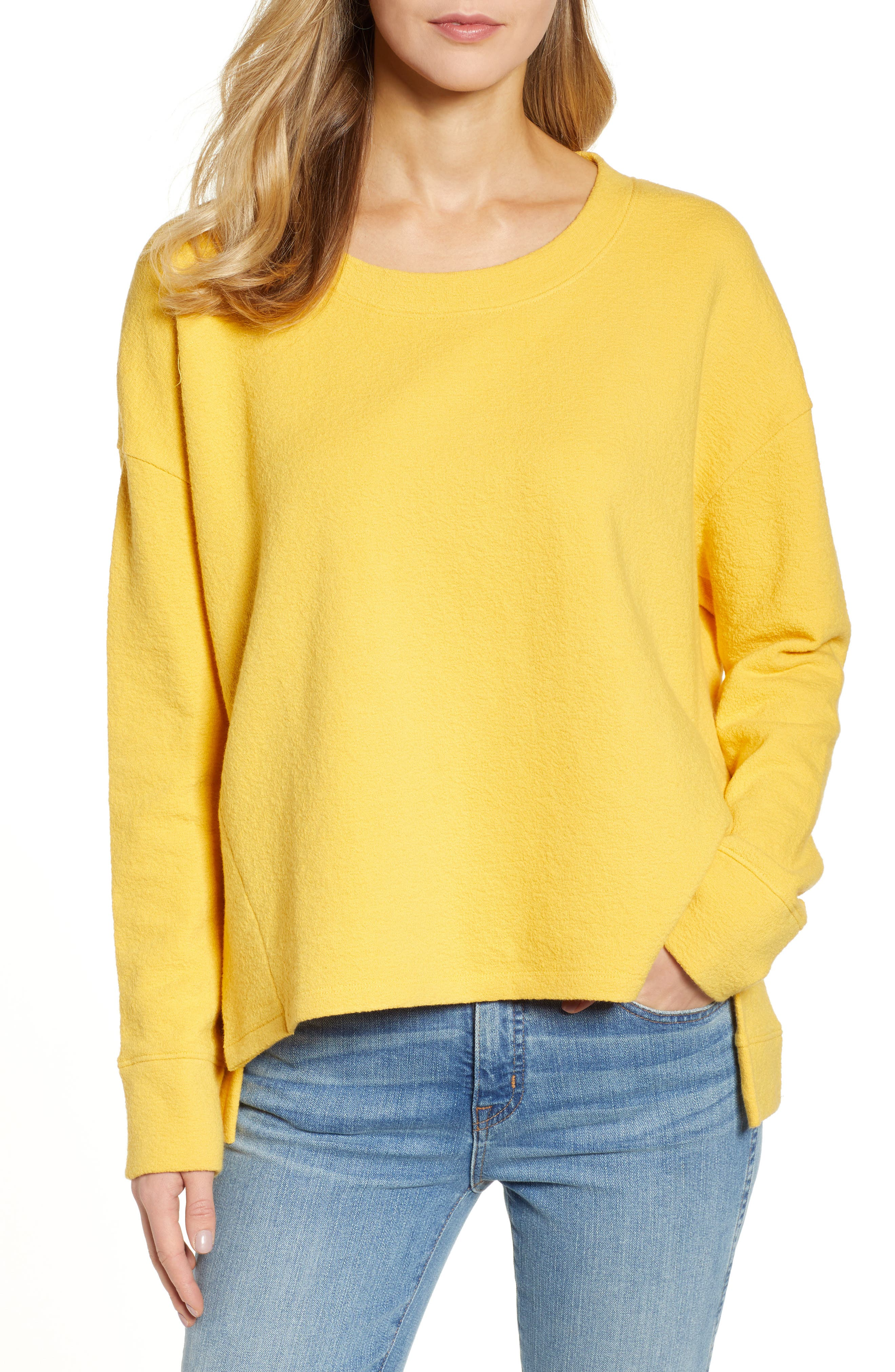 CASLON<SUP>®</SUP> Side Slit Relaxed Sweatshirt, Main, color, YELLOW WHIP
