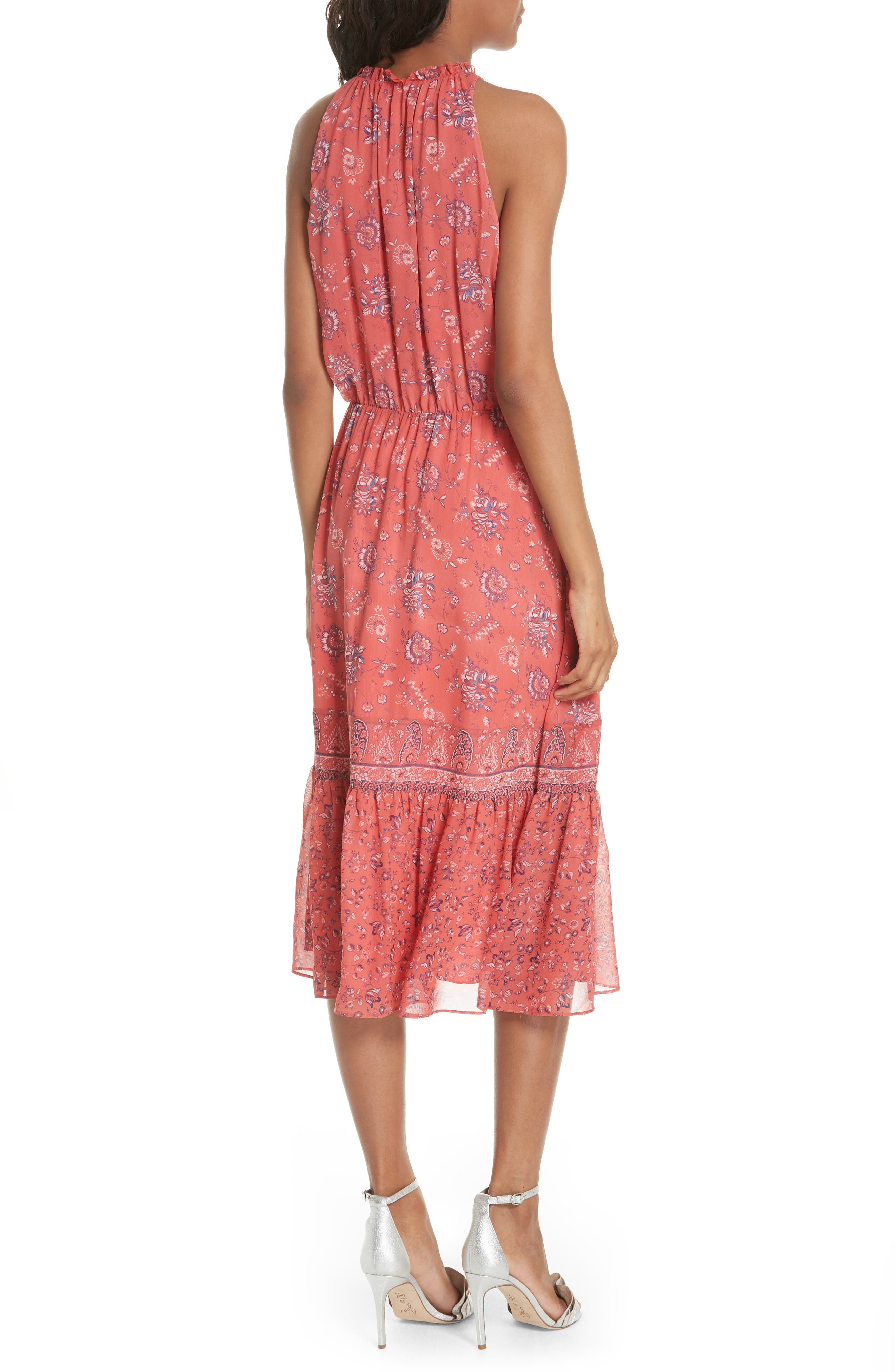 Chara Print Silk Midi Dress,                             Alternate thumbnail 2, color,                             606