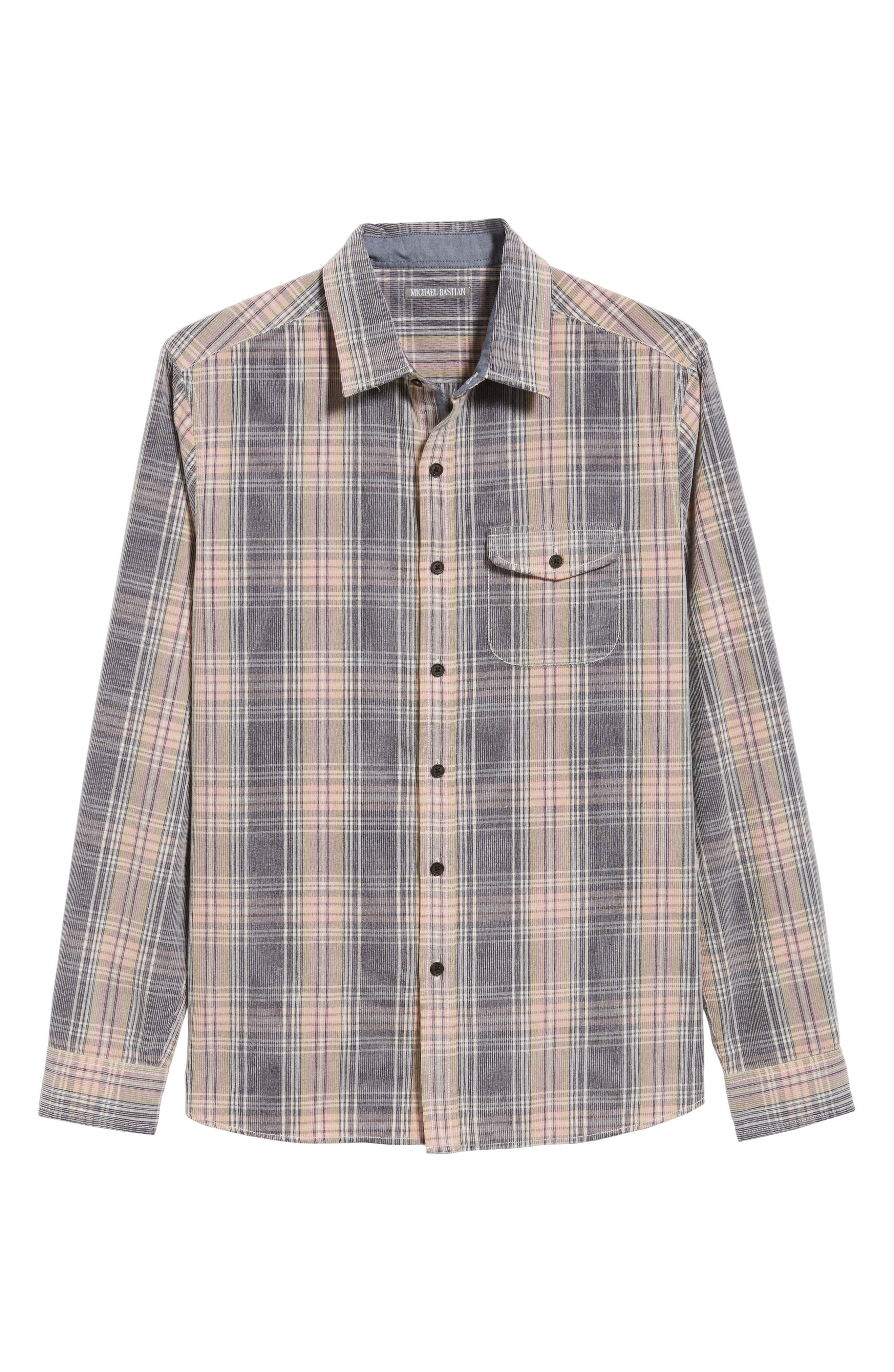 Regular Fit Plaid Corduroy Shirt,                             Alternate thumbnail 5, color,                             602