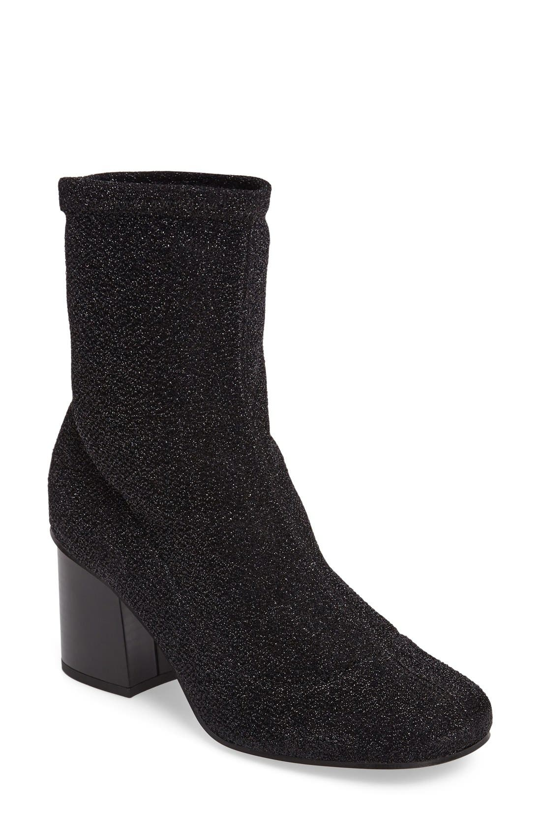 Martha Glitter Sock Bootie,                             Main thumbnail 1, color,                             001