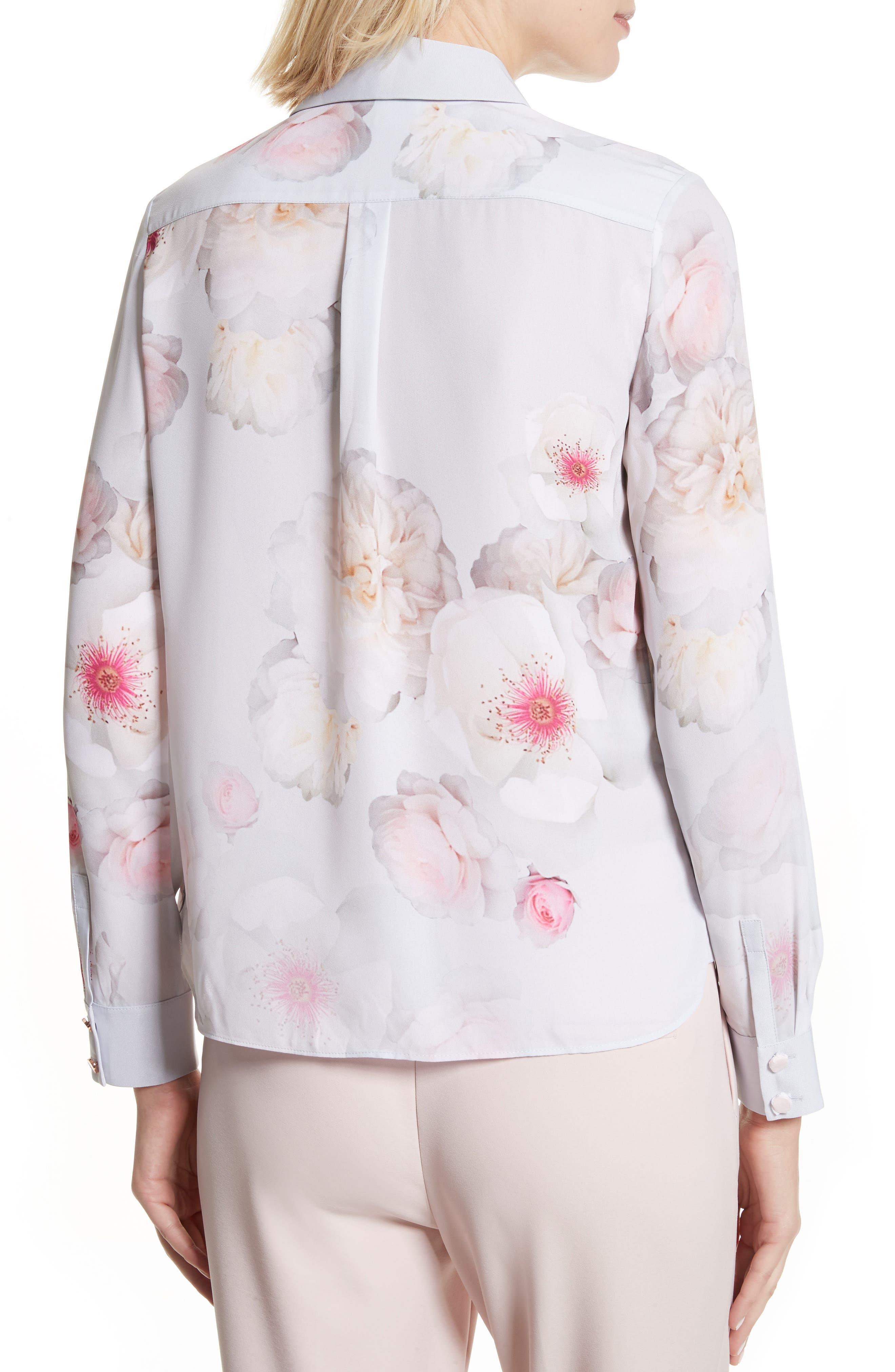 Relar Chelsea Grey Flower Print Shirt,                             Alternate thumbnail 2, color,                             021