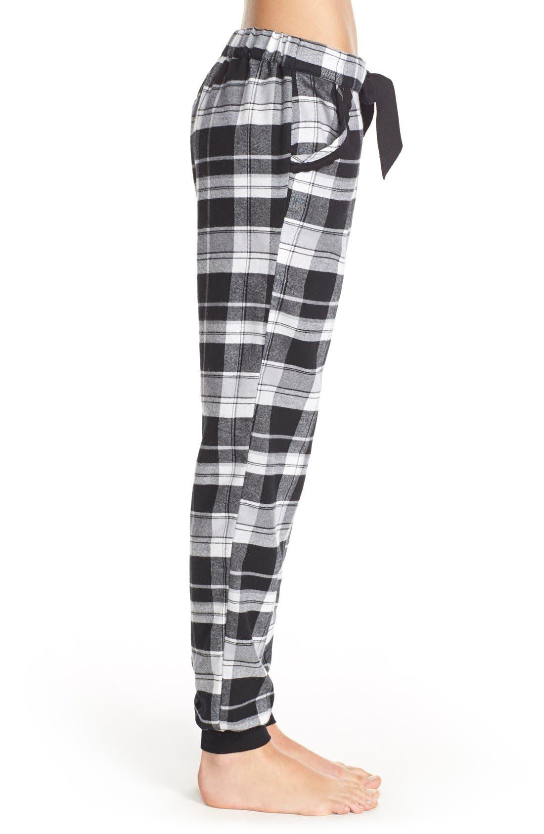 Plaid Flannel Lounge Pants,                             Alternate thumbnail 3, color,                             001