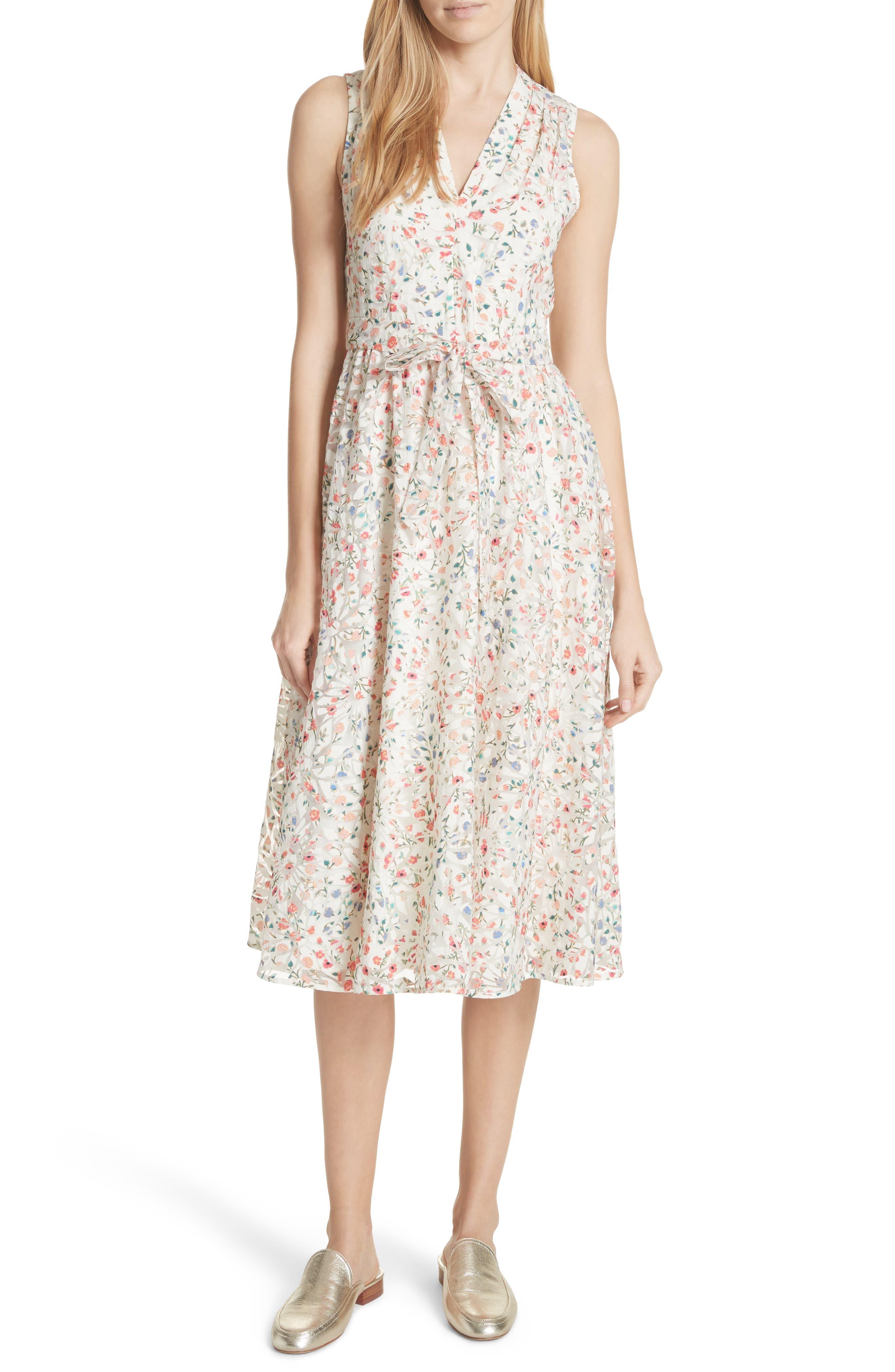mini bloom burnout midi dress,                             Main thumbnail 1, color,