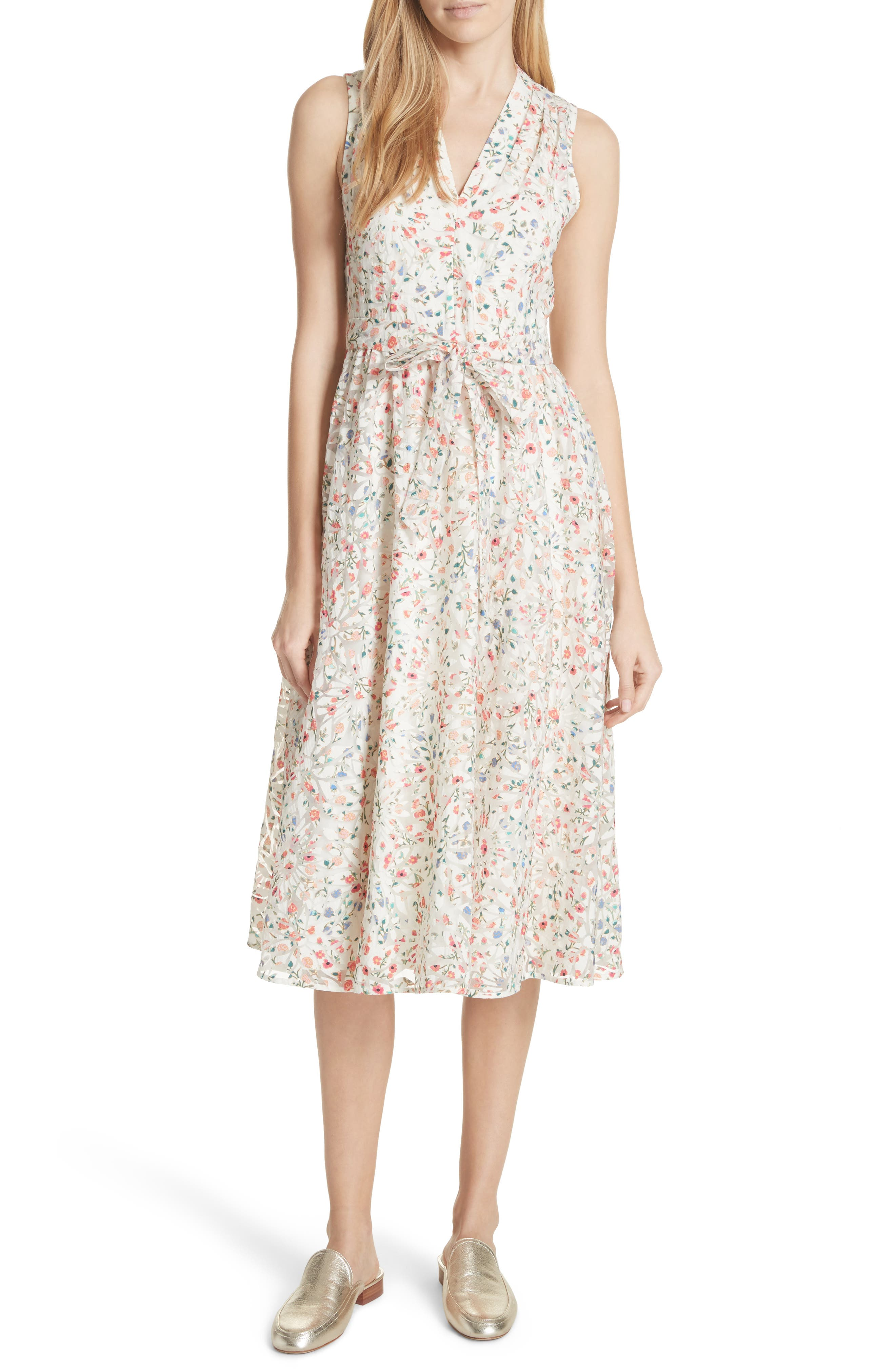 mini bloom burnout midi dress,                         Main,                         color, 252