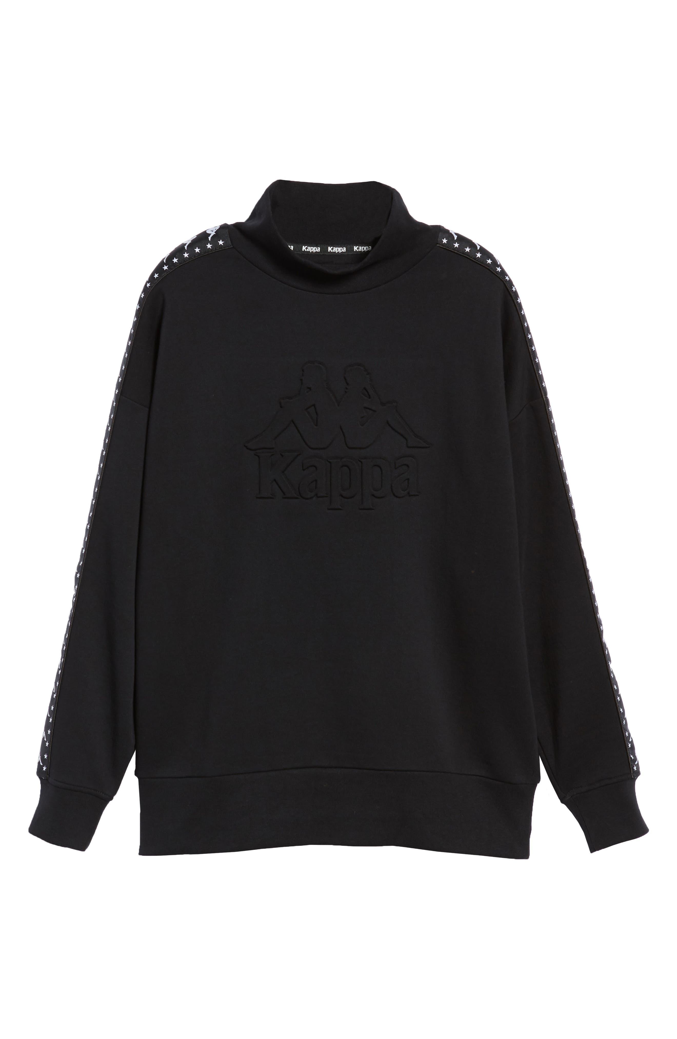 Authentic Alef Mock Neck Sweatshirt,                             Alternate thumbnail 6, color,                             BLACK/ WHITE