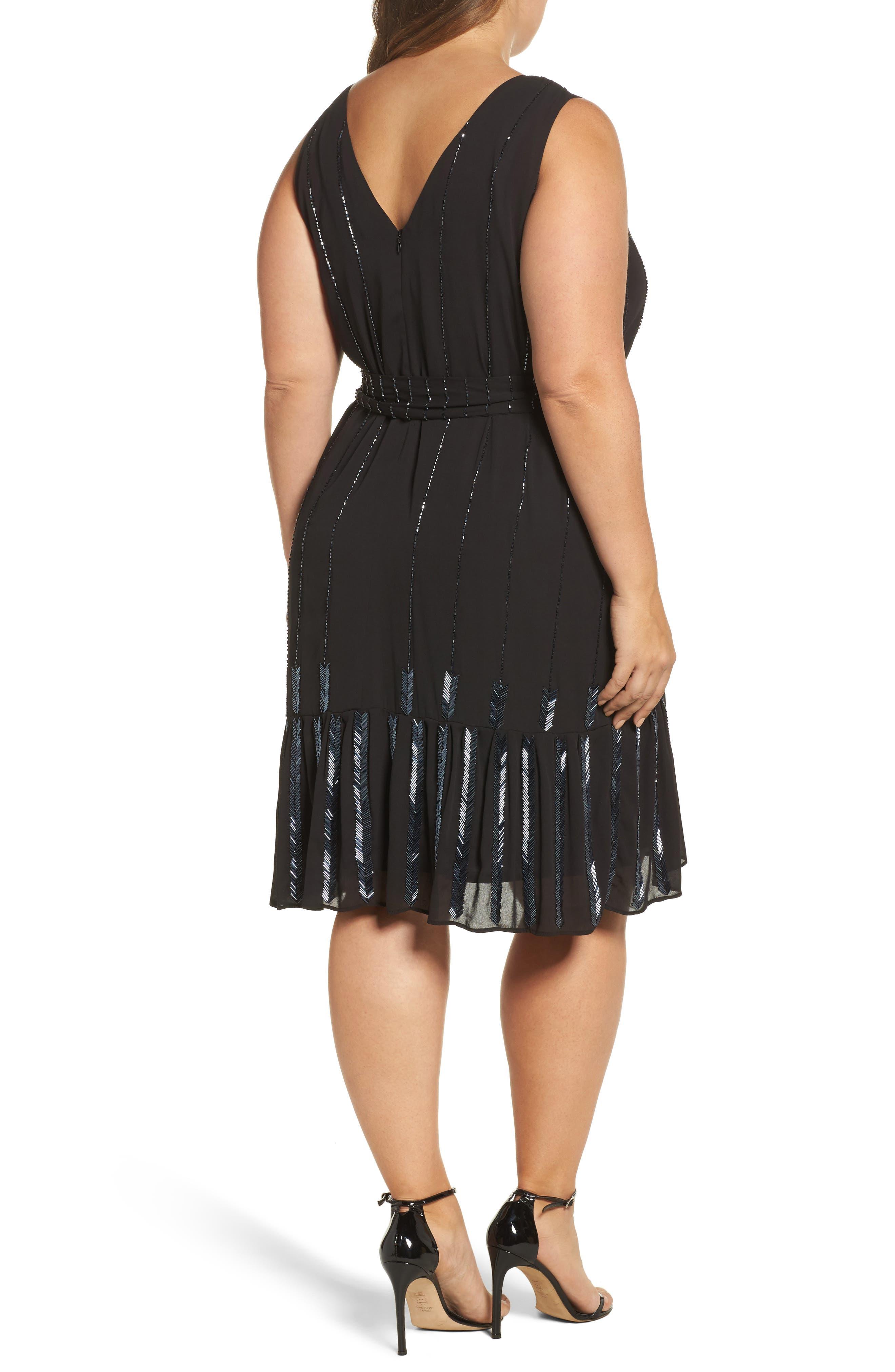 Beaded A-Line Dress,                             Alternate thumbnail 2, color,                             001